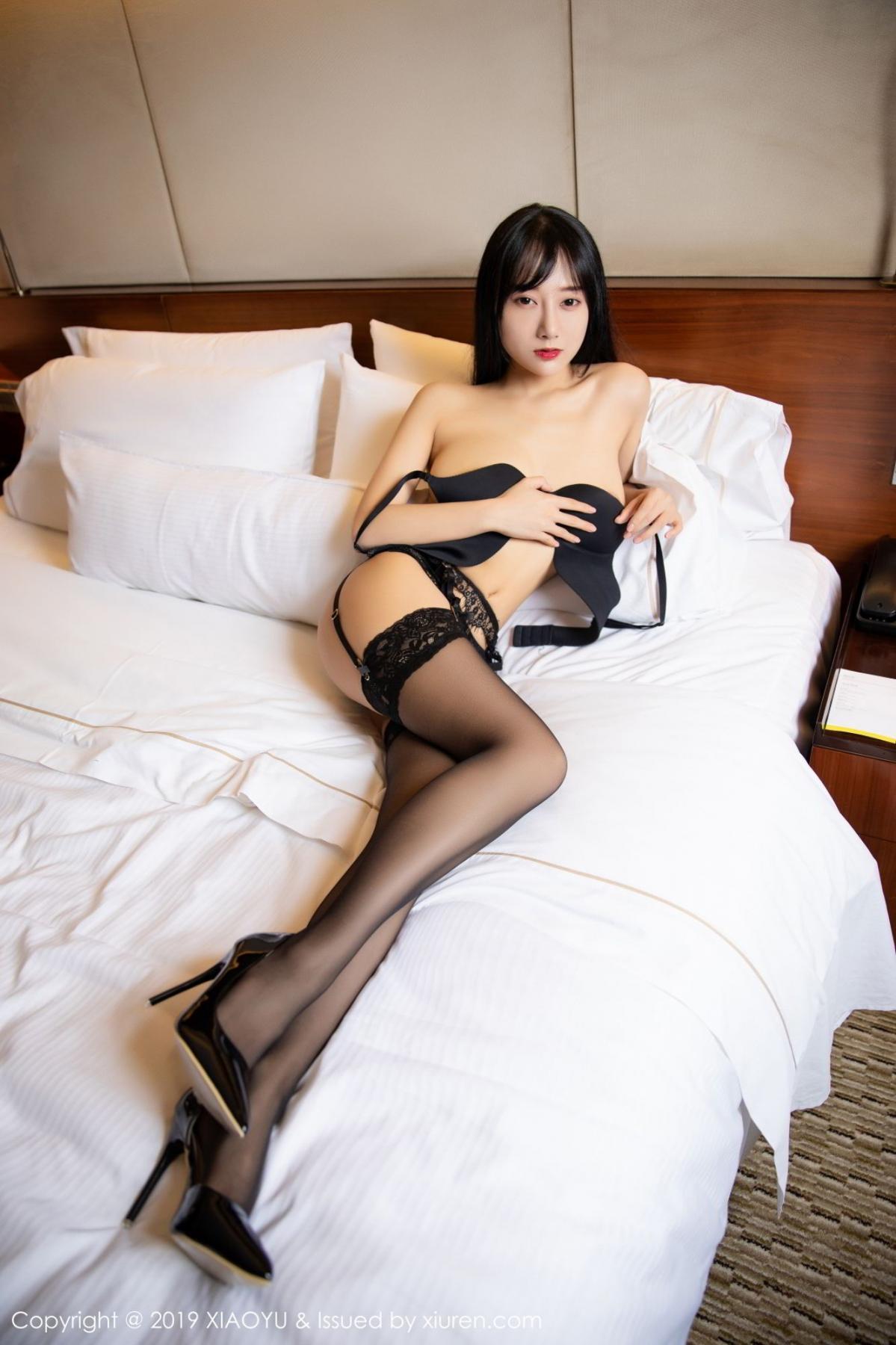 [XiaoYu] Vol.085 He Jia Ying 27P, Black Silk, He Jia Ying, Tall, Underwear, XiaoYu