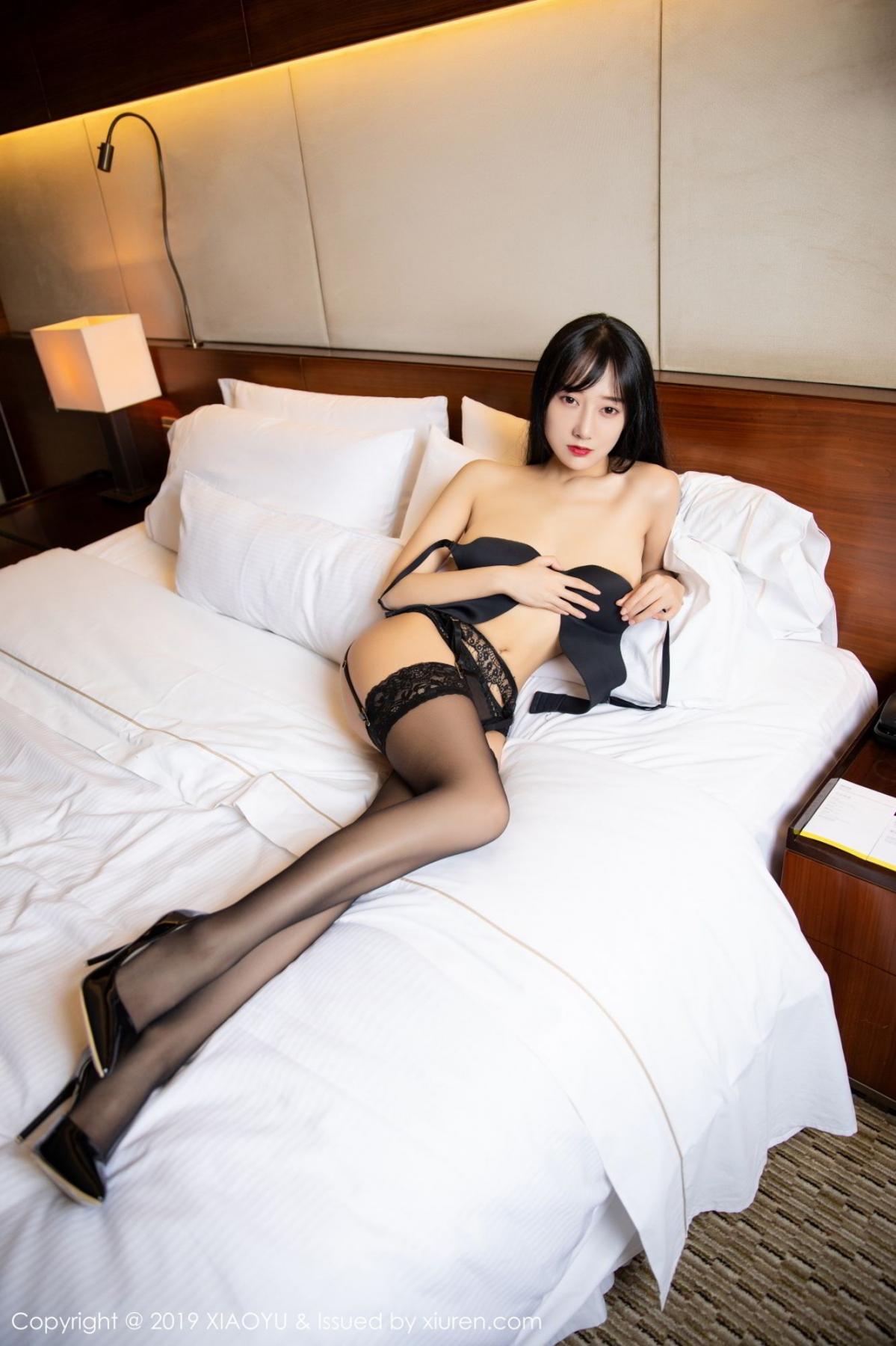 [XiaoYu] Vol.085 He Jia Ying 28P, Black Silk, He Jia Ying, Tall, Underwear, XiaoYu