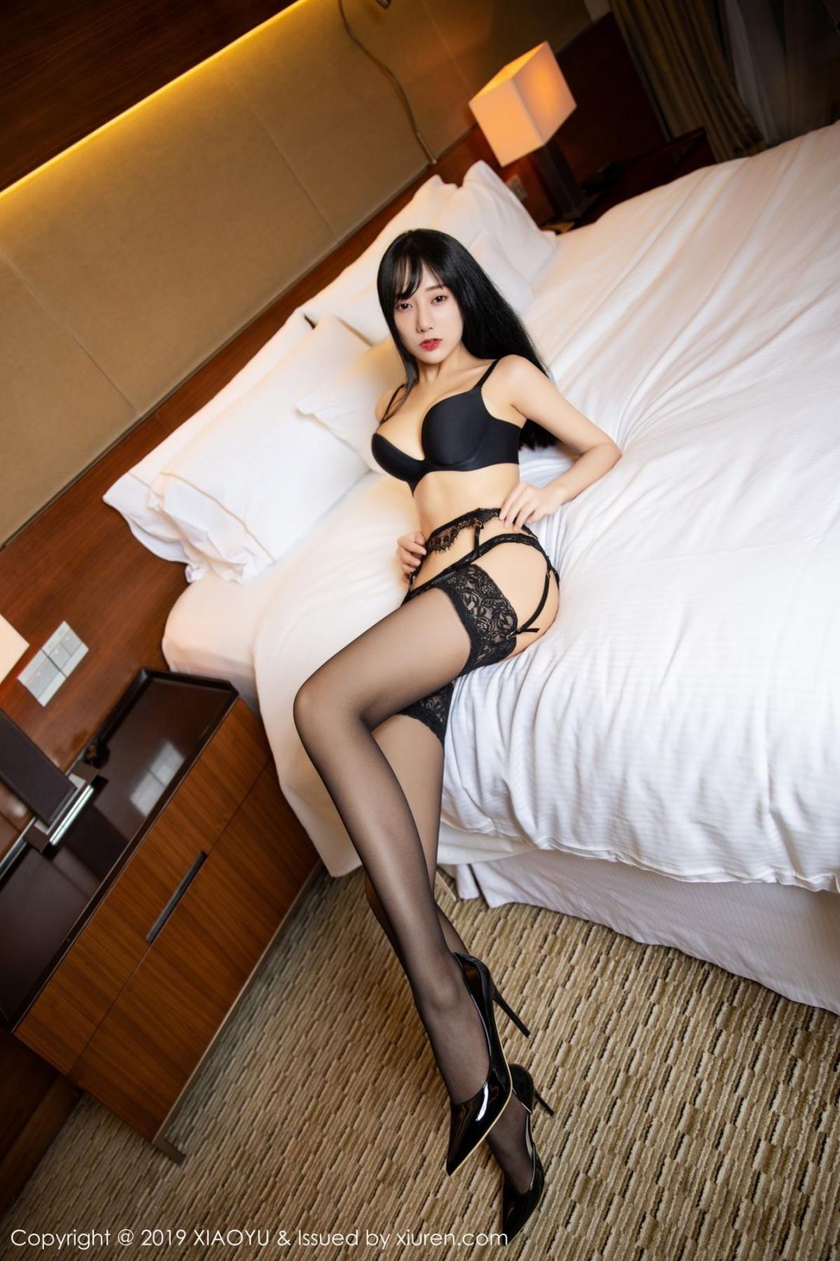 [XiaoYu] Vol.085 He Jia Ying 2P, Black Silk, He Jia Ying, Tall, Underwear, XiaoYu