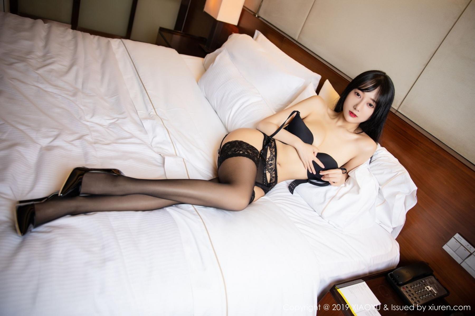 [XiaoYu] Vol.085 He Jia Ying 30P, Black Silk, He Jia Ying, Tall, Underwear, XiaoYu