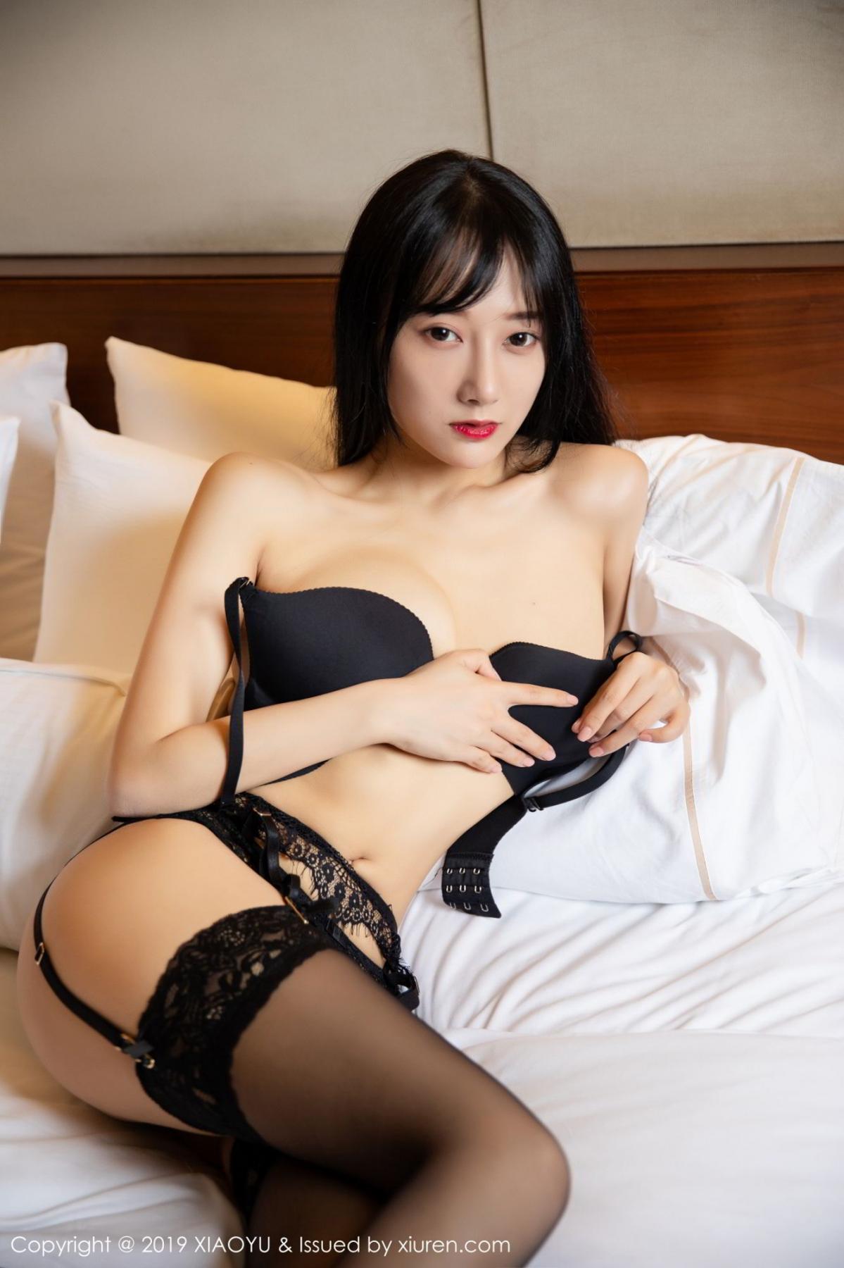 [XiaoYu] Vol.085 He Jia Ying 31P, Black Silk, He Jia Ying, Tall, Underwear, XiaoYu