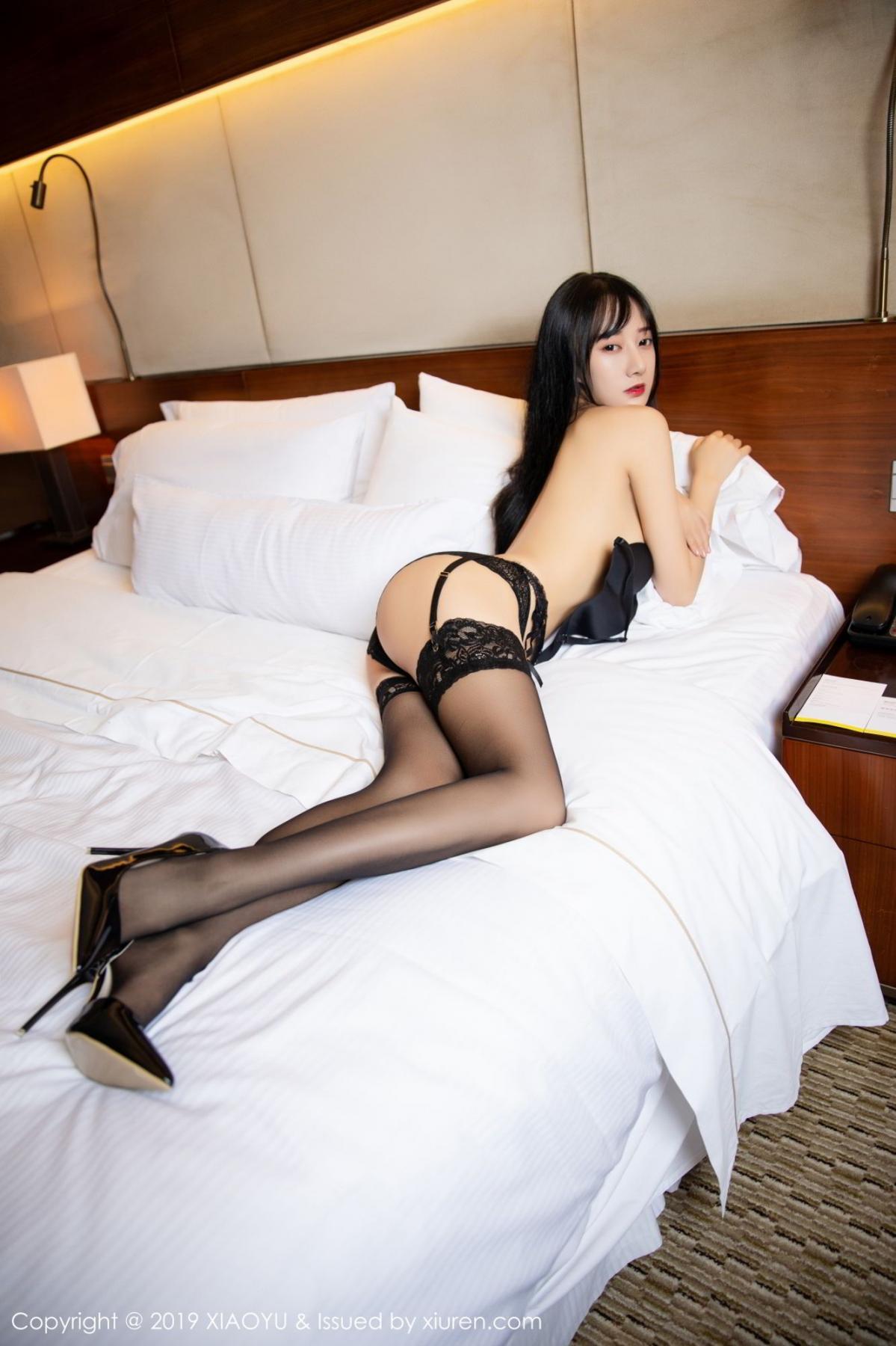 [XiaoYu] Vol.085 He Jia Ying 34P, Black Silk, He Jia Ying, Tall, Underwear, XiaoYu