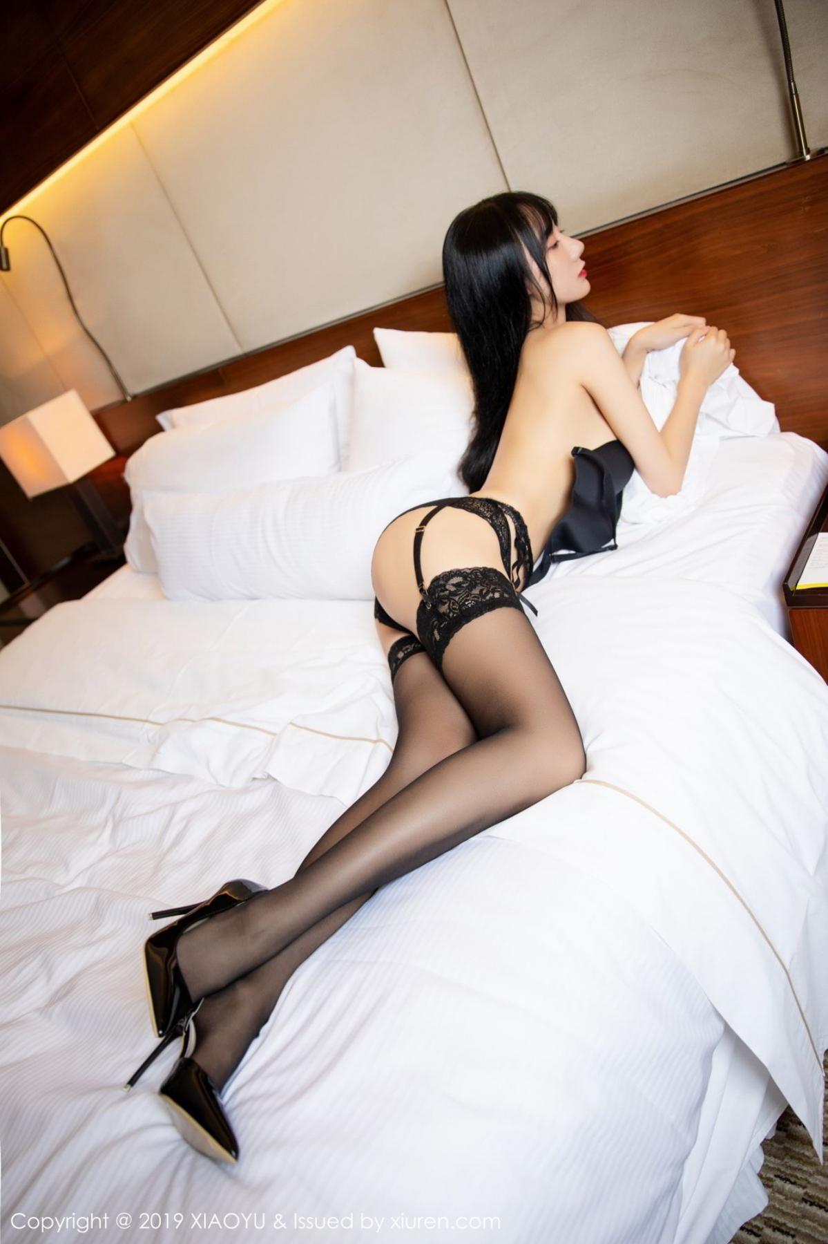 [XiaoYu] Vol.085 He Jia Ying 35P, Black Silk, He Jia Ying, Tall, Underwear, XiaoYu