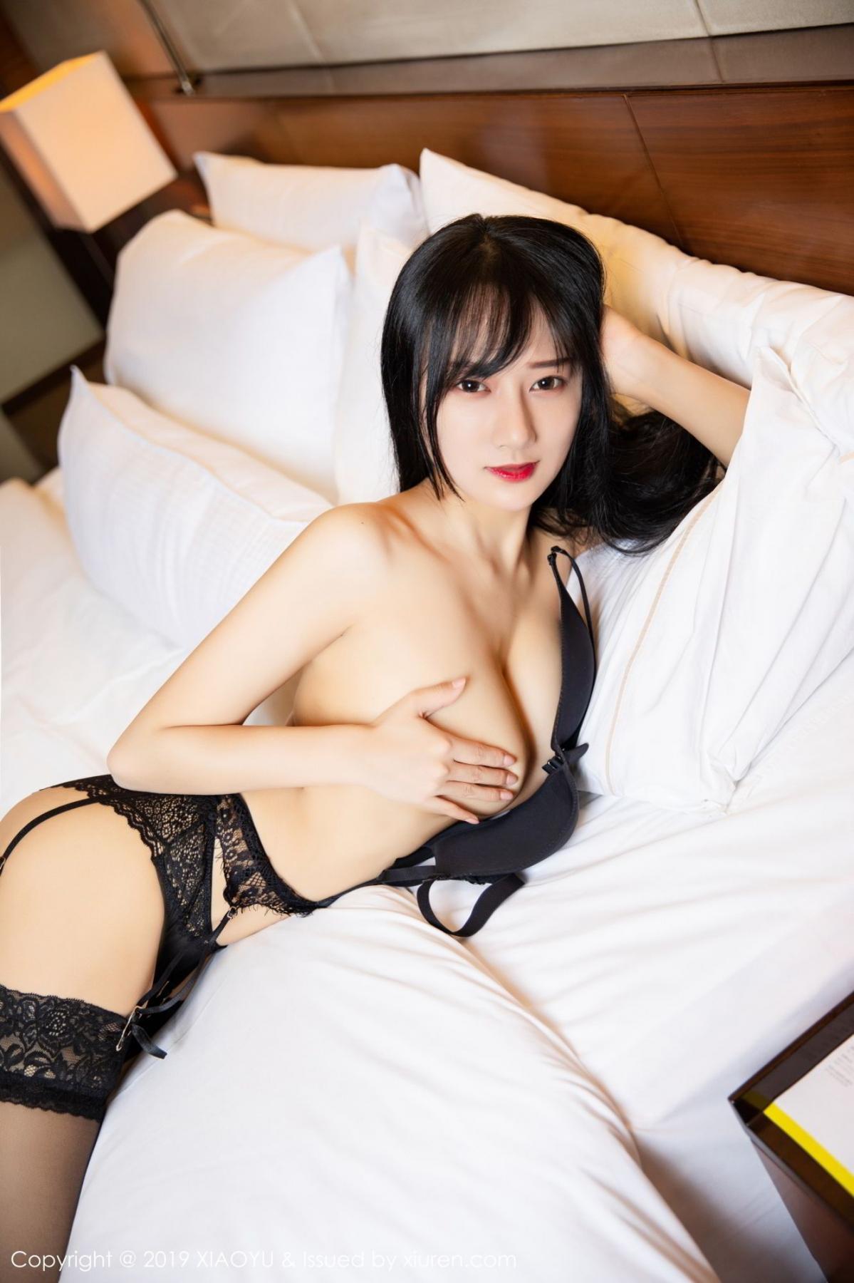 [XiaoYu] Vol.085 He Jia Ying 42P, Black Silk, He Jia Ying, Tall, Underwear, XiaoYu