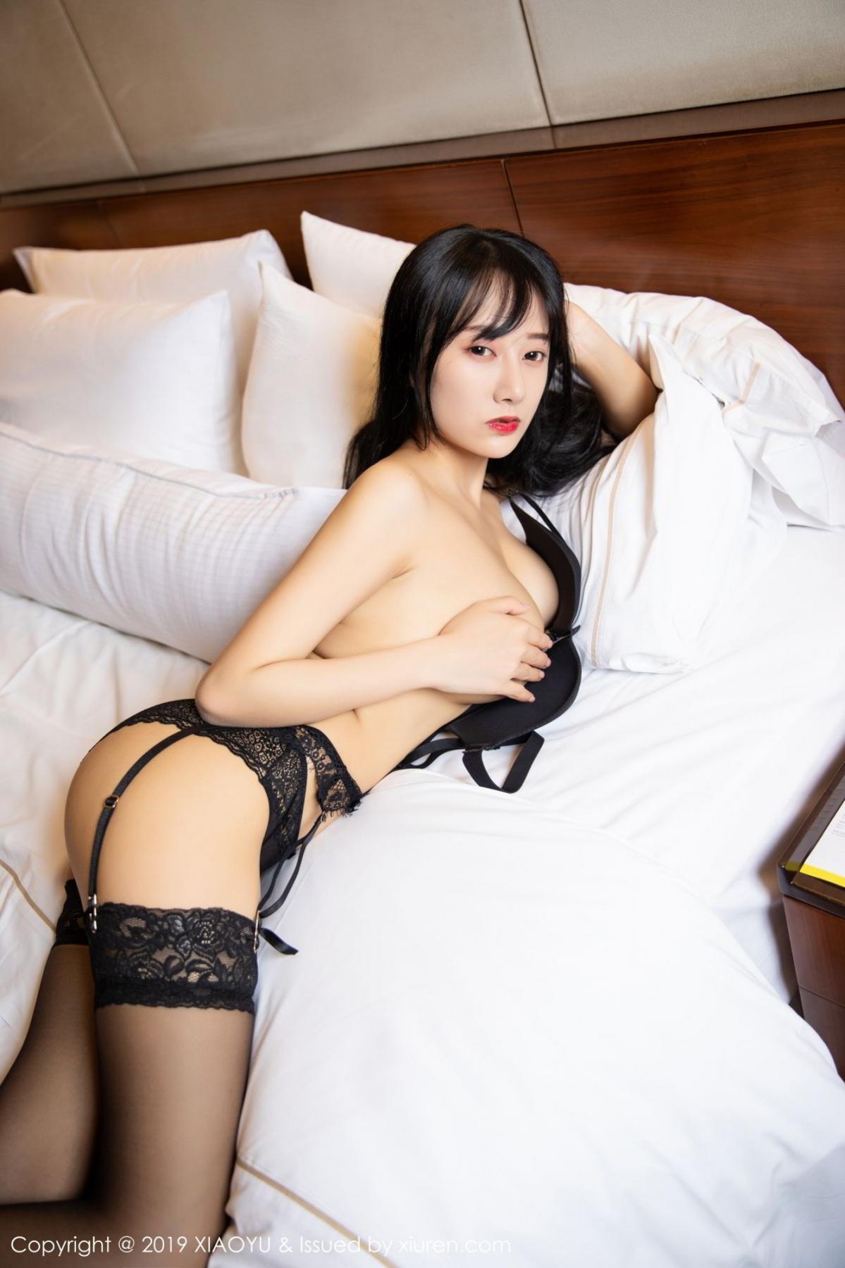 [XiaoYu] Vol.085 He Jia Ying 43P, Black Silk, He Jia Ying, Tall, Underwear, XiaoYu
