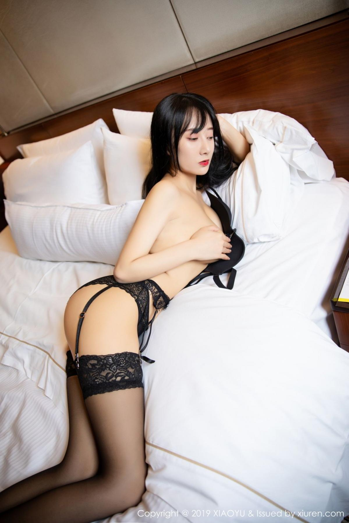 [XiaoYu] Vol.085 He Jia Ying 44P, Black Silk, He Jia Ying, Tall, Underwear, XiaoYu