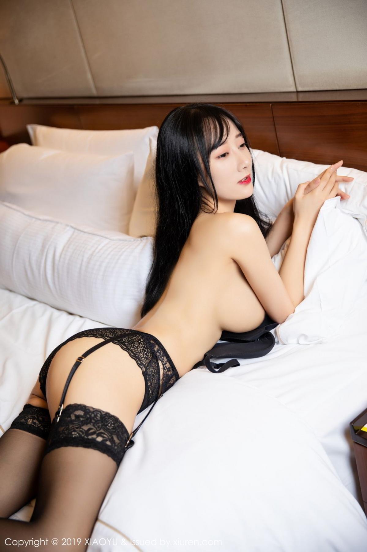 [XiaoYu] Vol.085 He Jia Ying 45P, Black Silk, He Jia Ying, Tall, Underwear, XiaoYu