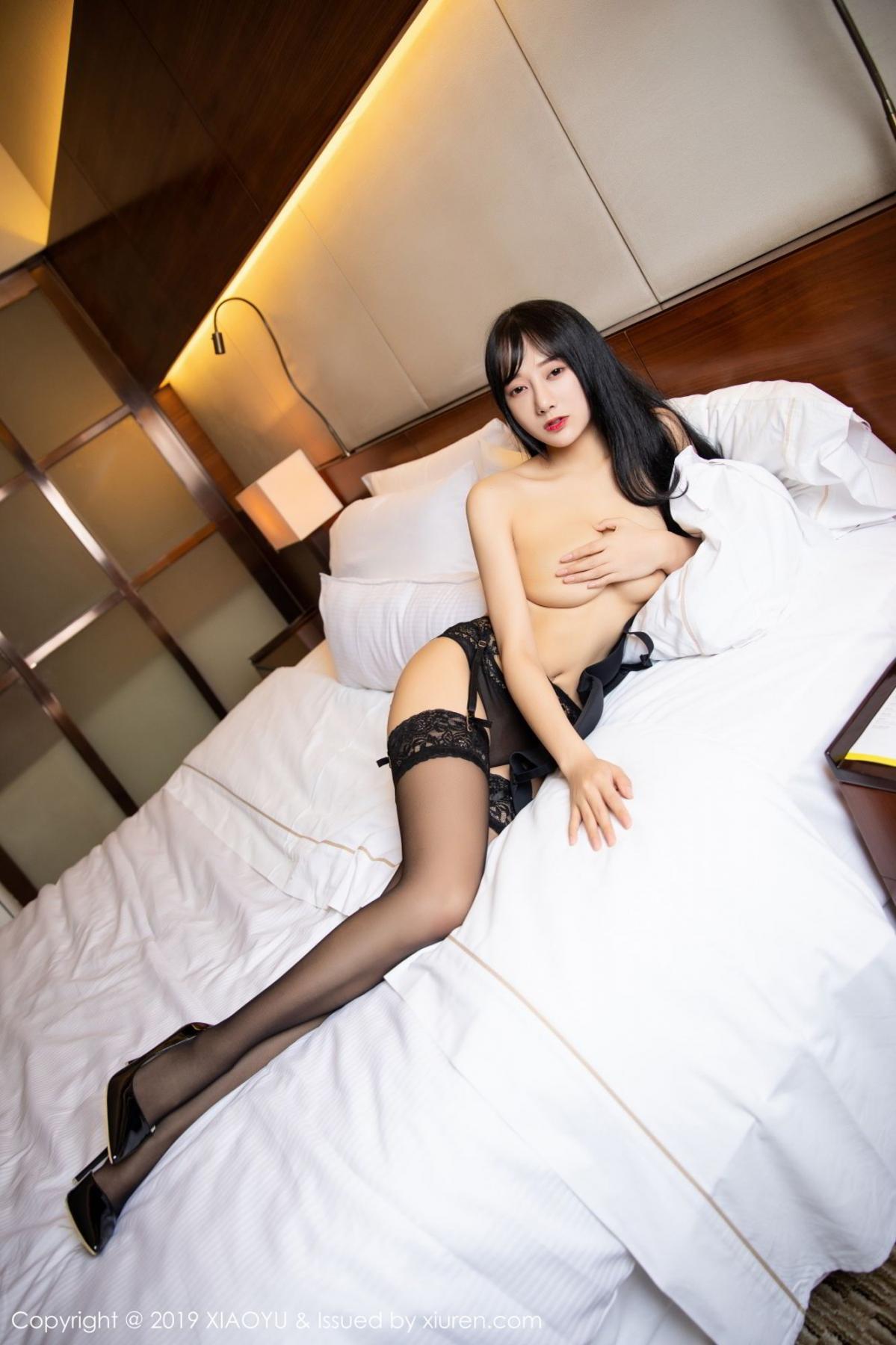 [XiaoYu] Vol.085 He Jia Ying 47P, Black Silk, He Jia Ying, Tall, Underwear, XiaoYu