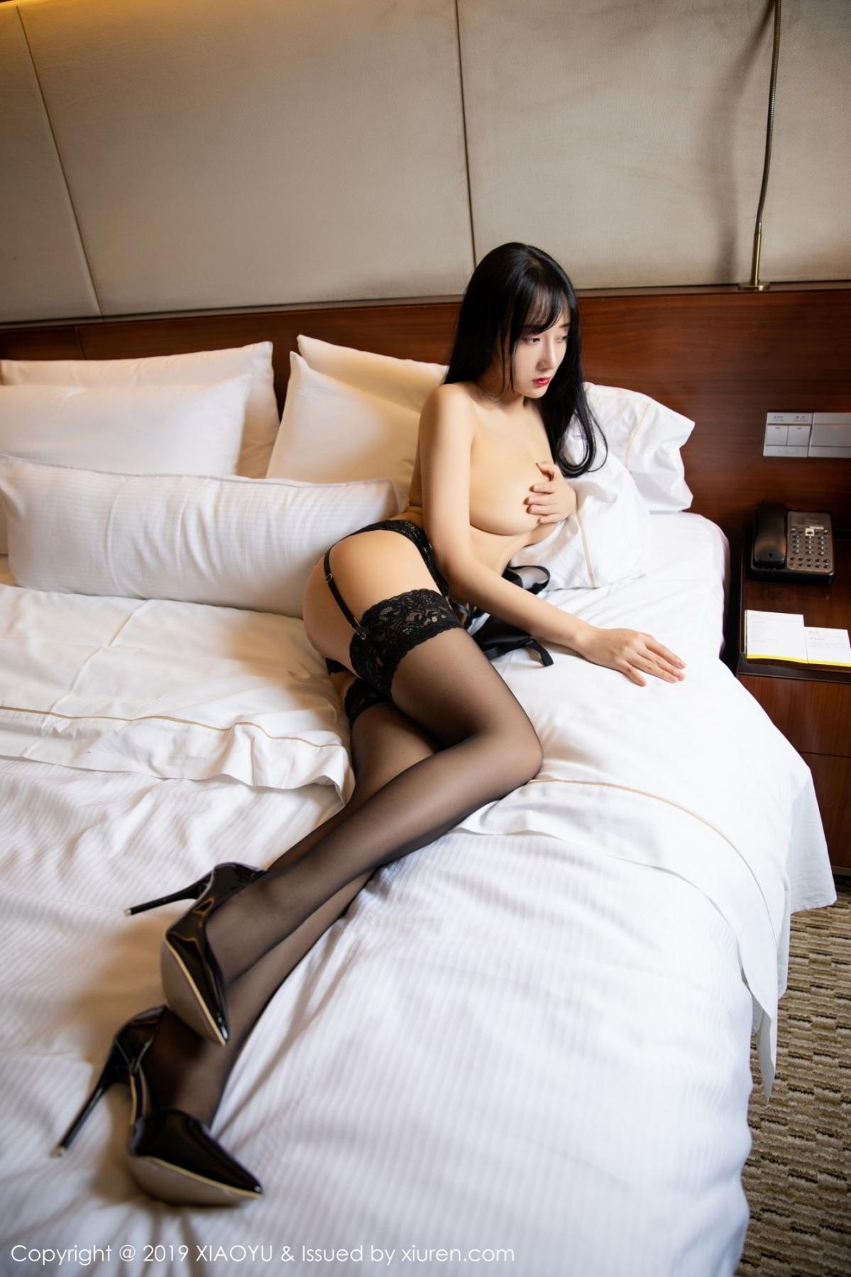 [XiaoYu] Vol.085 He Jia Ying 50P, Black Silk, He Jia Ying, Tall, Underwear, XiaoYu