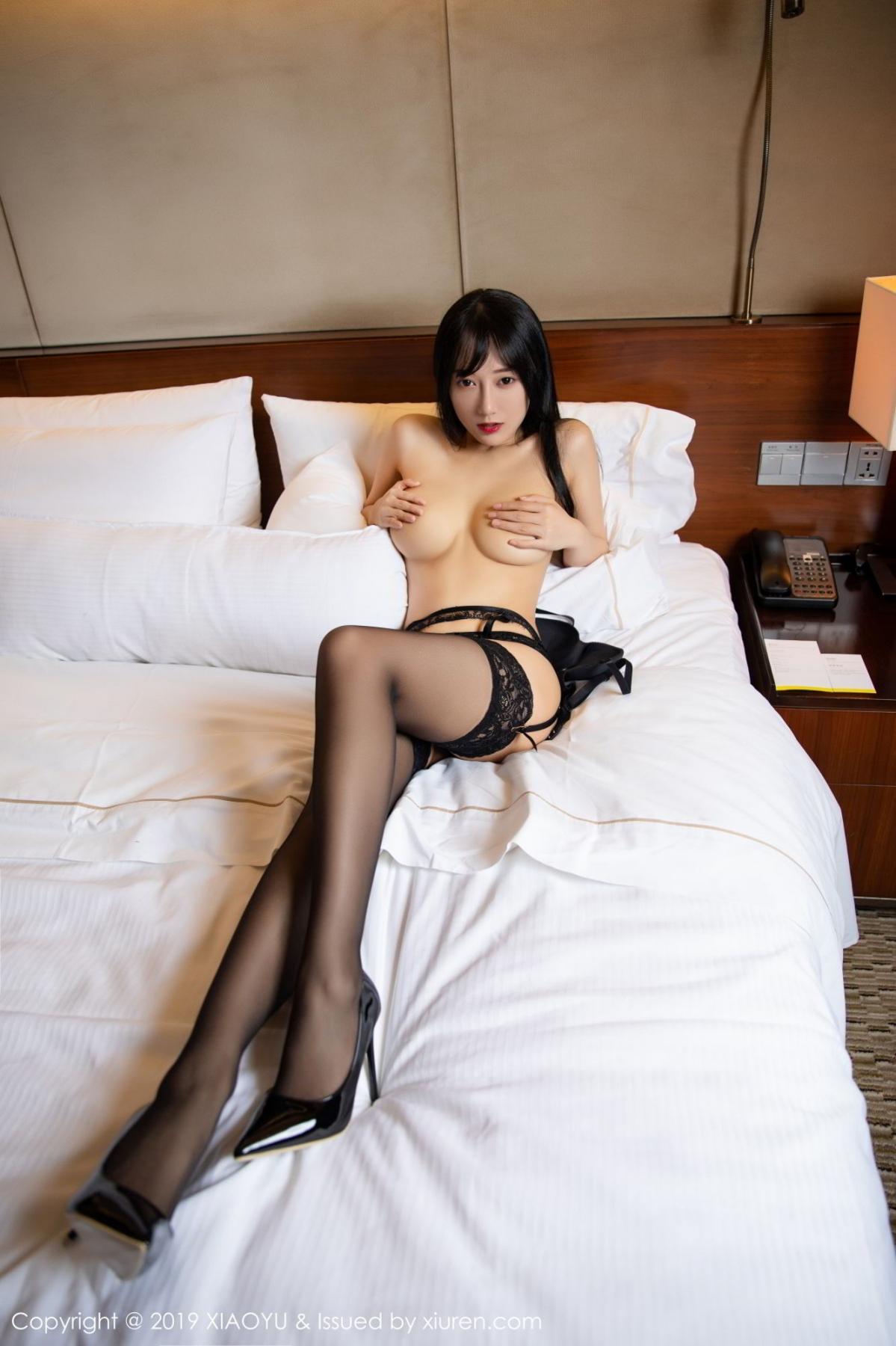 [XiaoYu] Vol.085 He Jia Ying 51P, Black Silk, He Jia Ying, Tall, Underwear, XiaoYu