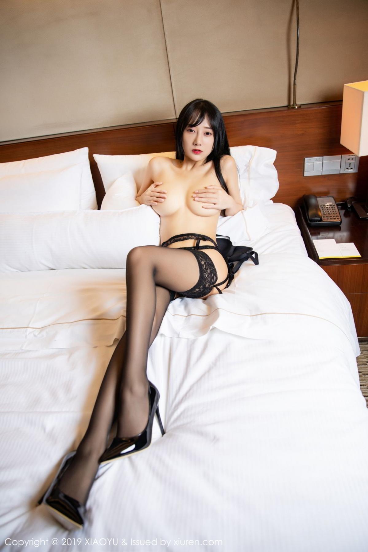[XiaoYu] Vol.085 He Jia Ying 52P, Black Silk, He Jia Ying, Tall, Underwear, XiaoYu