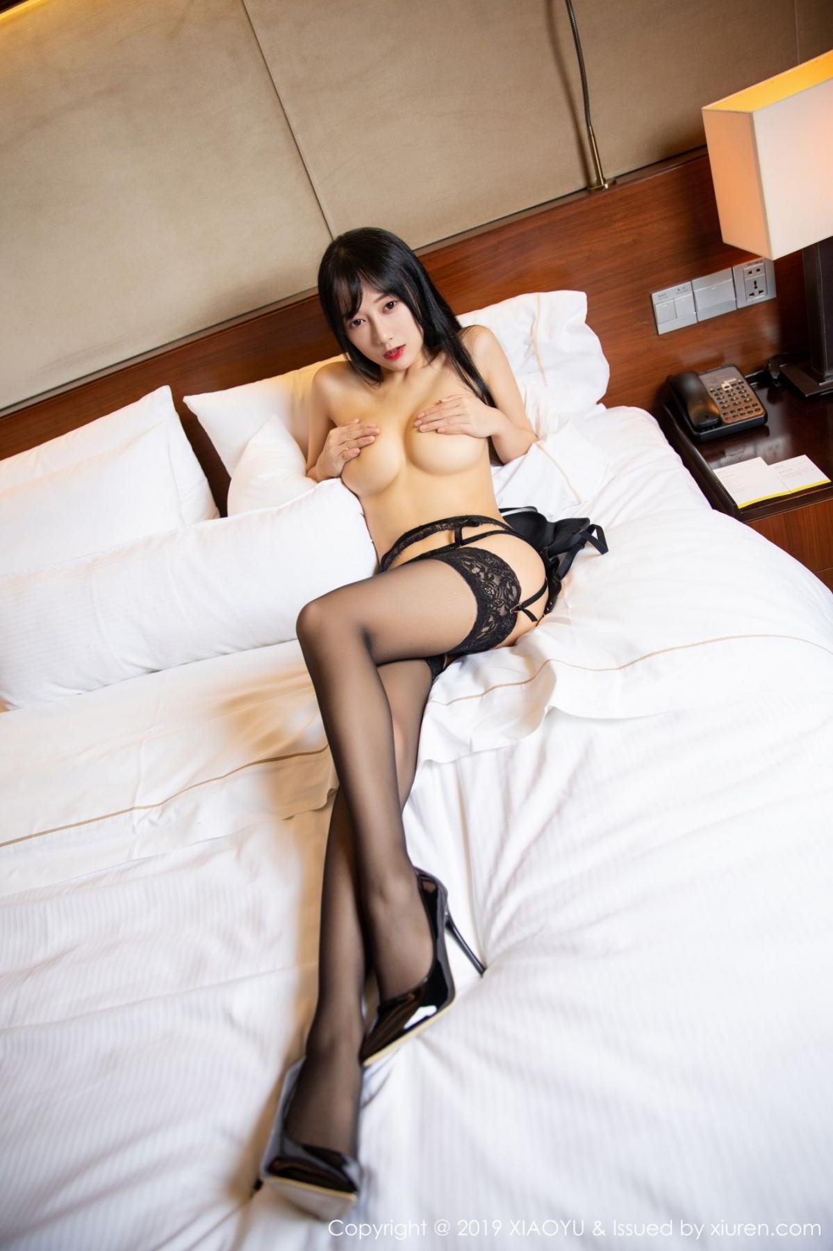[XiaoYu] Vol.085 He Jia Ying 53P, Black Silk, He Jia Ying, Tall, Underwear, XiaoYu