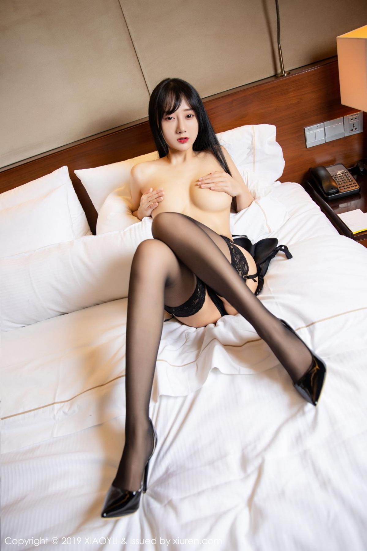 [XiaoYu] Vol.085 He Jia Ying 54P, Black Silk, He Jia Ying, Tall, Underwear, XiaoYu