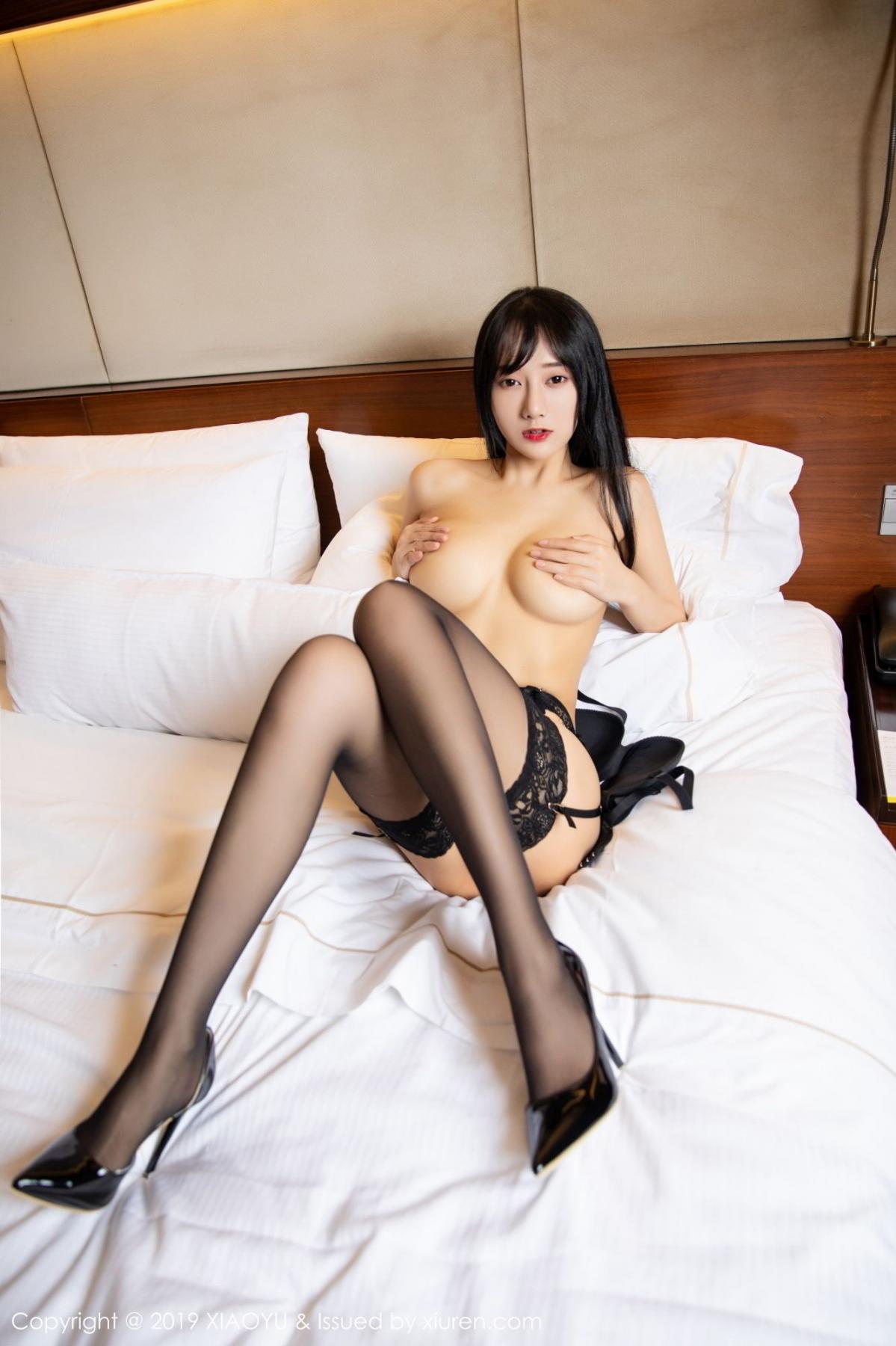 [XiaoYu] Vol.085 He Jia Ying 55P, Black Silk, He Jia Ying, Tall, Underwear, XiaoYu