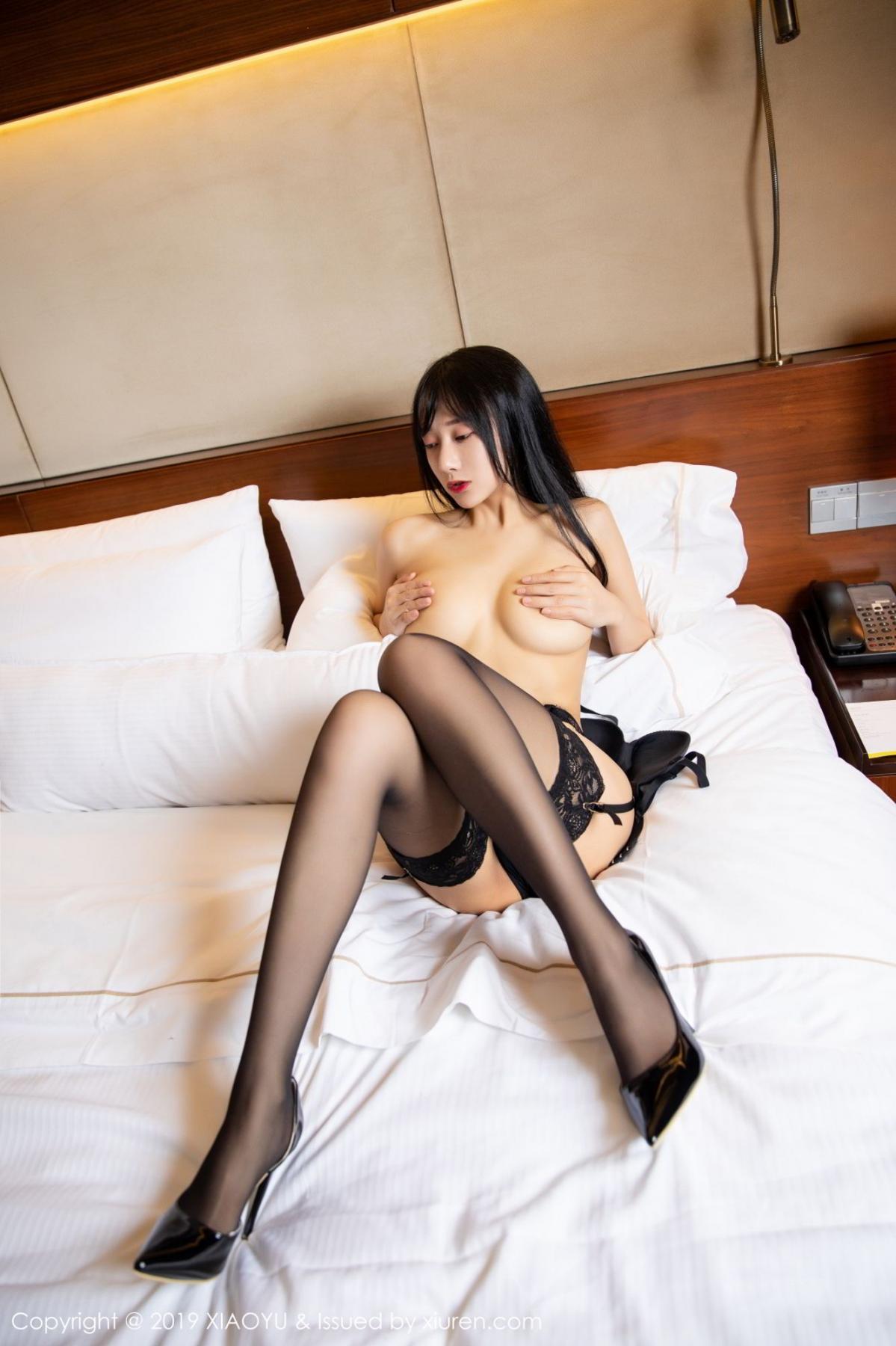 [XiaoYu] Vol.085 He Jia Ying 56P, Black Silk, He Jia Ying, Tall, Underwear, XiaoYu