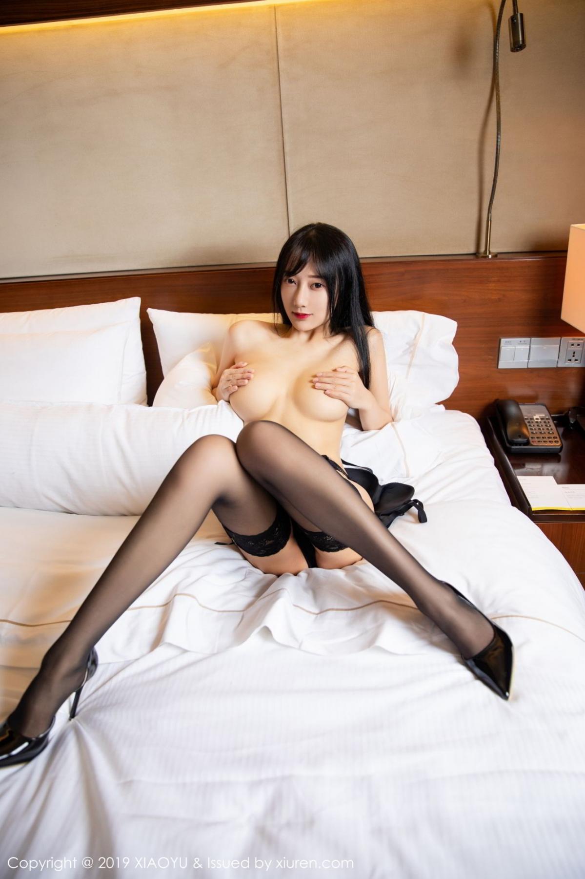 [XiaoYu] Vol.085 He Jia Ying 58P, Black Silk, He Jia Ying, Tall, Underwear, XiaoYu