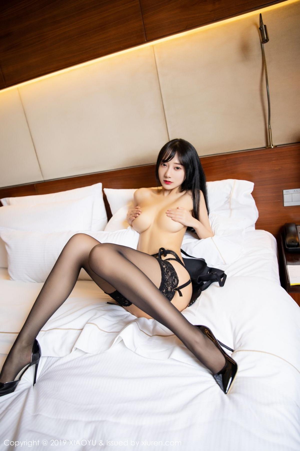 [XiaoYu] Vol.085 He Jia Ying 59P, Black Silk, He Jia Ying, Tall, Underwear, XiaoYu