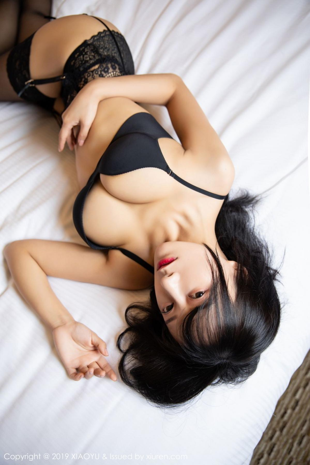 [XiaoYu] Vol.085 He Jia Ying 5P, Black Silk, He Jia Ying, Tall, Underwear, XiaoYu