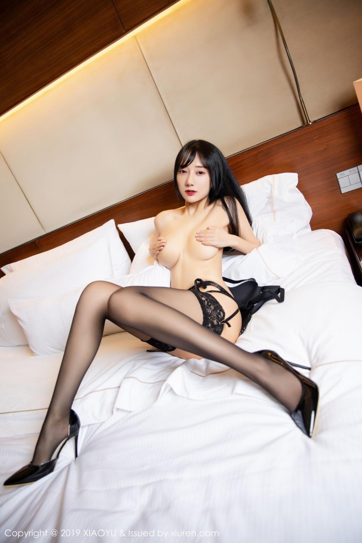 [XiaoYu] Vol.085 He Jia Ying 60P, Black Silk, He Jia Ying, Tall, Underwear, XiaoYu