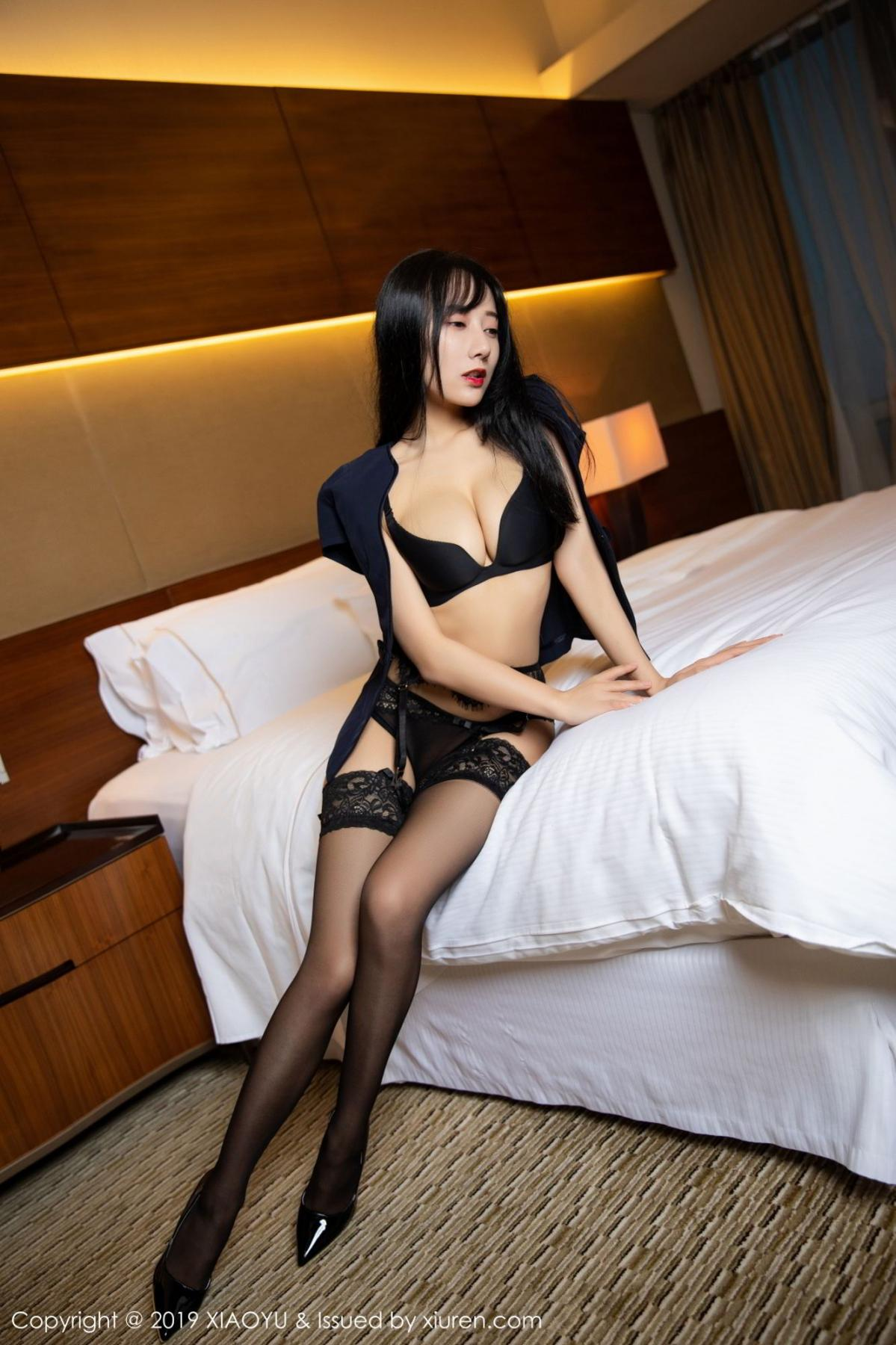 [XiaoYu] Vol.085 He Jia Ying 7P, Black Silk, He Jia Ying, Tall, Underwear, XiaoYu