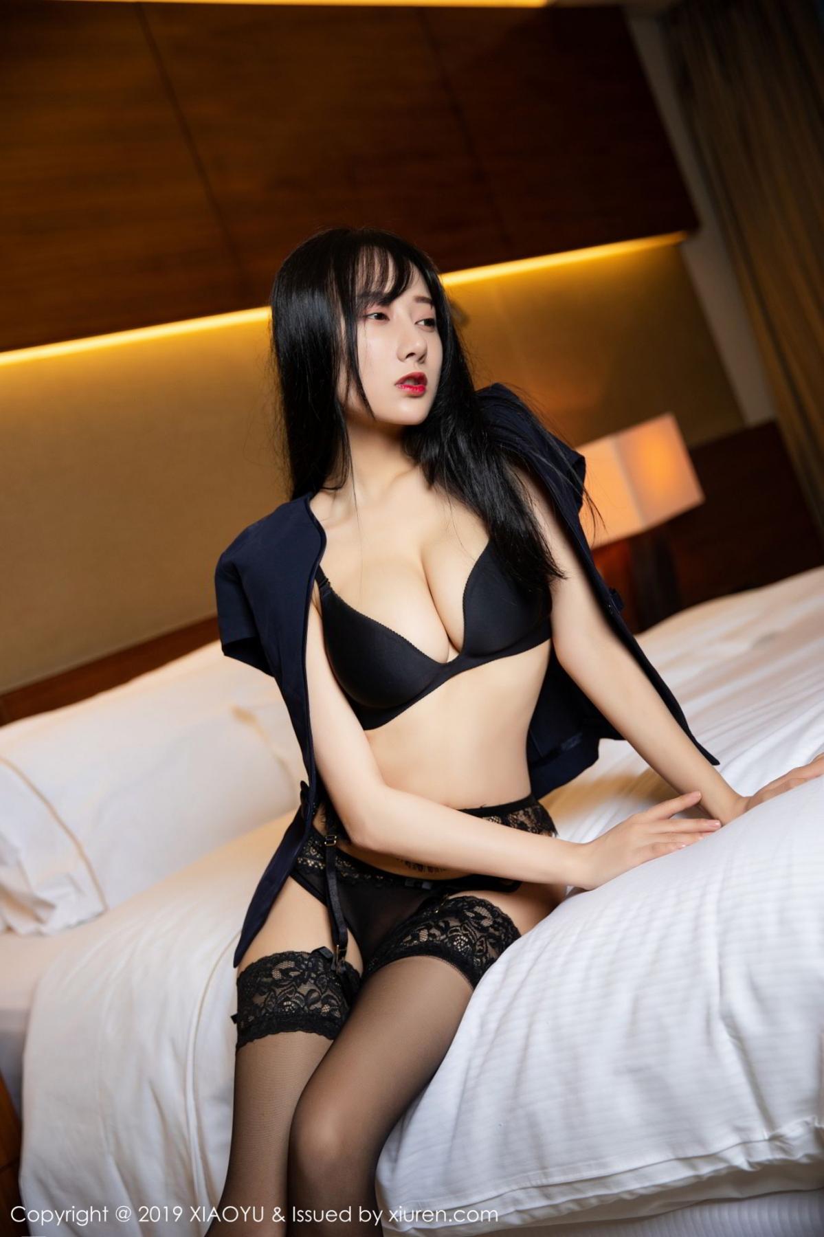 [XiaoYu] Vol.085 He Jia Ying 8P, Black Silk, He Jia Ying, Tall, Underwear, XiaoYu