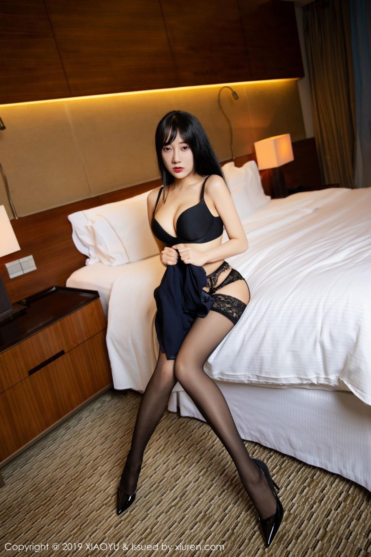 [XiaoYu] Vol.085 He Jia Ying 9P, Black Silk, He Jia Ying, Tall, Underwear, XiaoYu