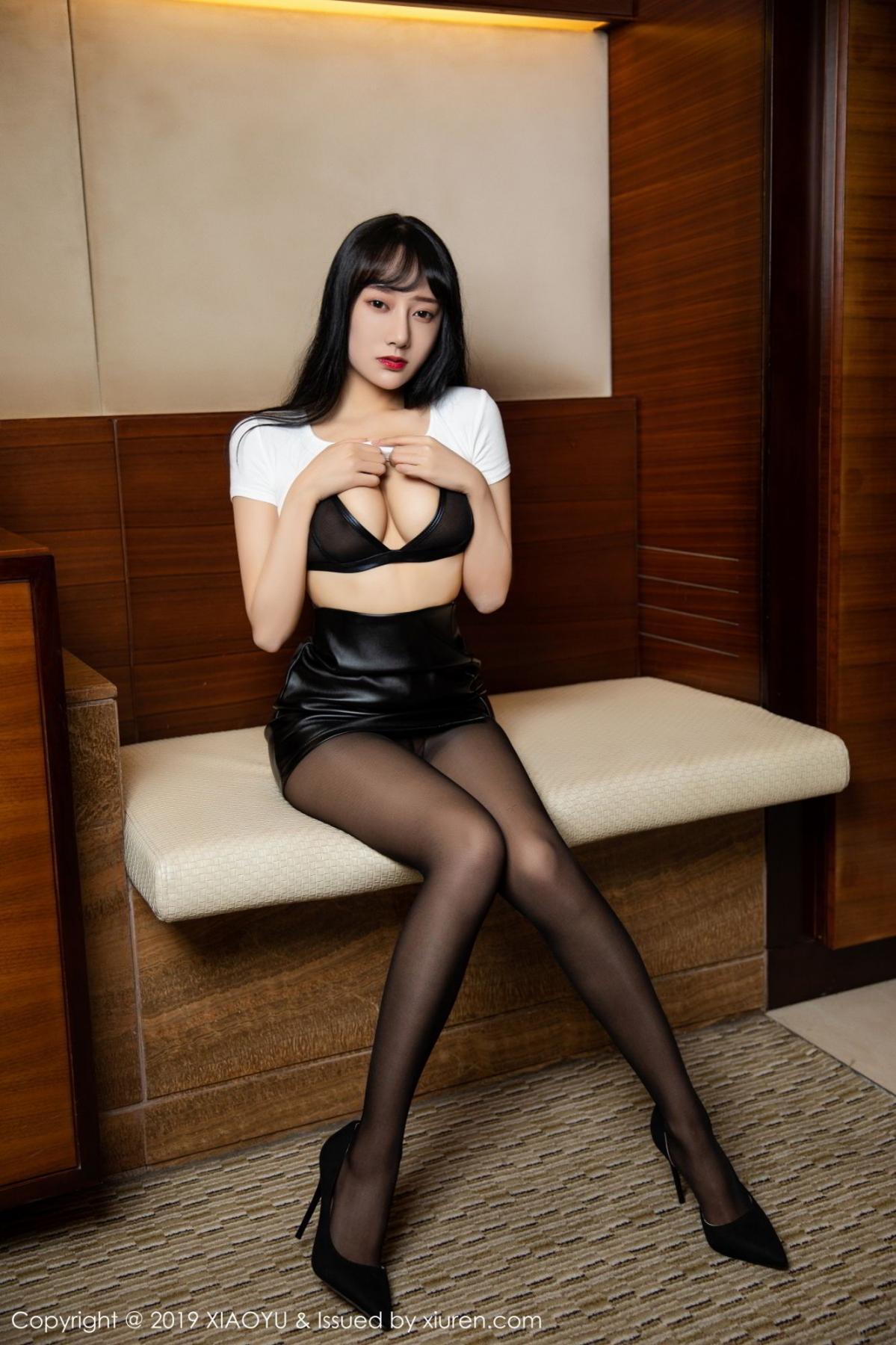 [XiaoYu] Vol.092 He Jia Ying 14P, Black Silk, He Jia Ying, Tall, Underwear, XiaoYu