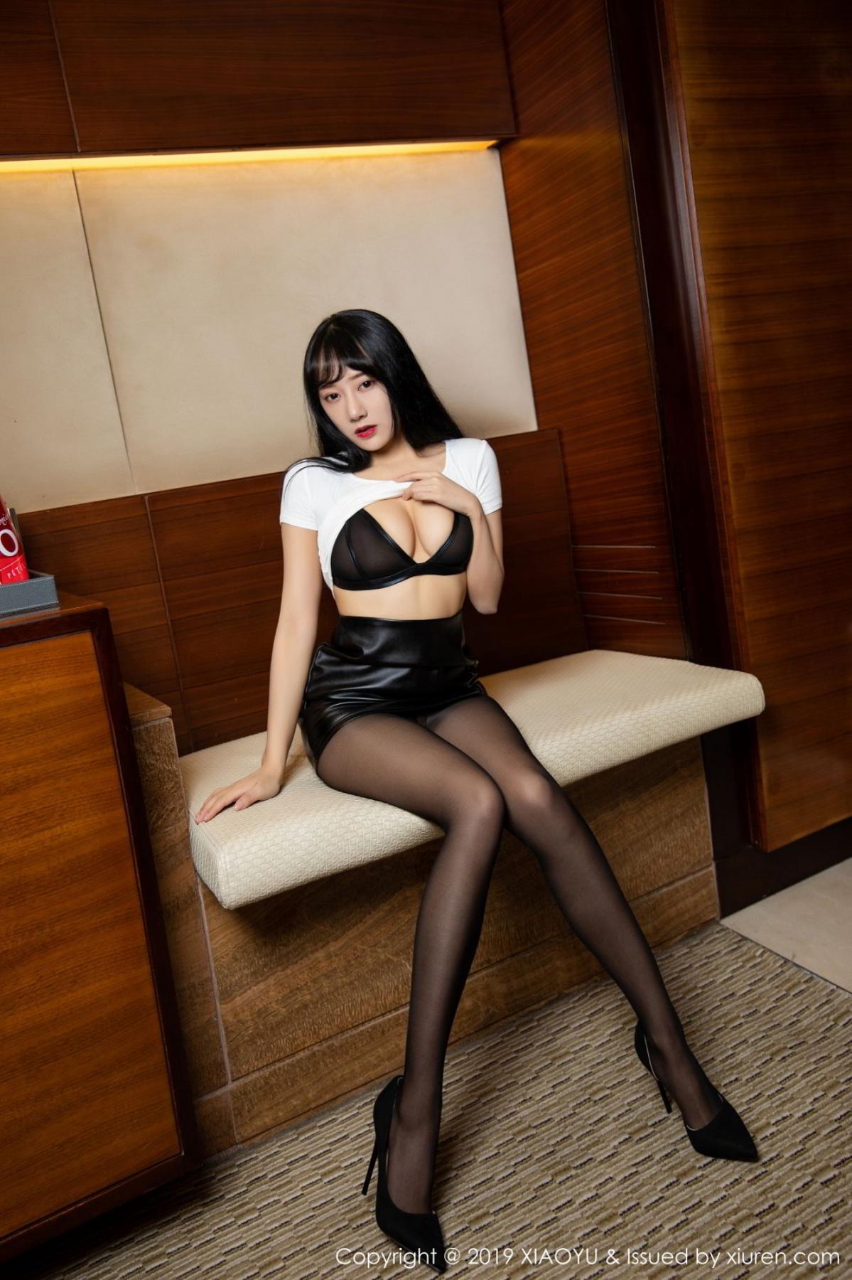 [XiaoYu] Vol.092 He Jia Ying 15P, Black Silk, He Jia Ying, Tall, Underwear, XiaoYu