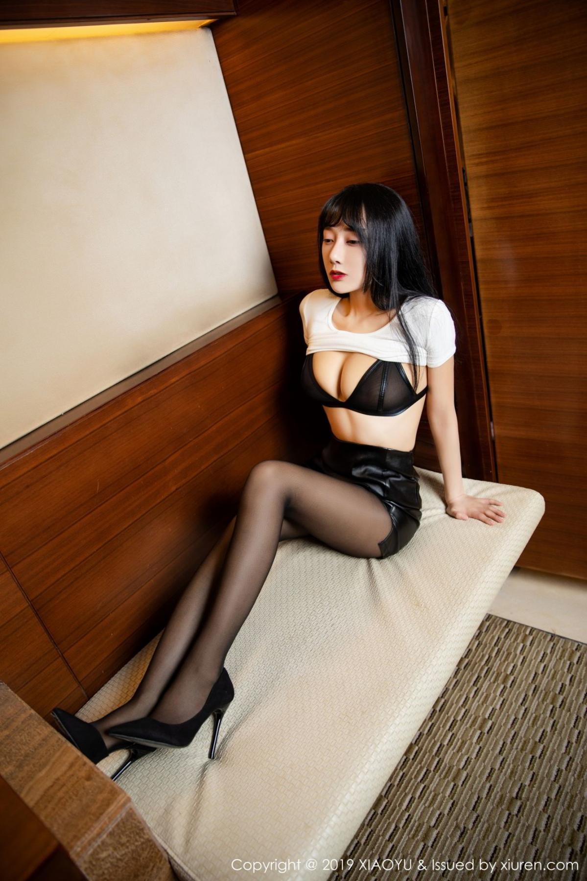 [XiaoYu] Vol.092 He Jia Ying 19P, Black Silk, He Jia Ying, Tall, Underwear, XiaoYu