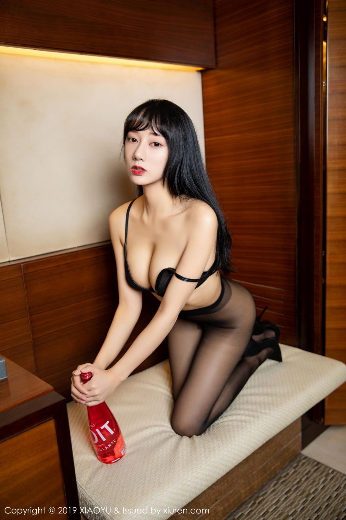 [XiaoYu] Vol.092 He Jia Ying 45P, Black Silk, He Jia Ying, Tall, Underwear, XiaoYu