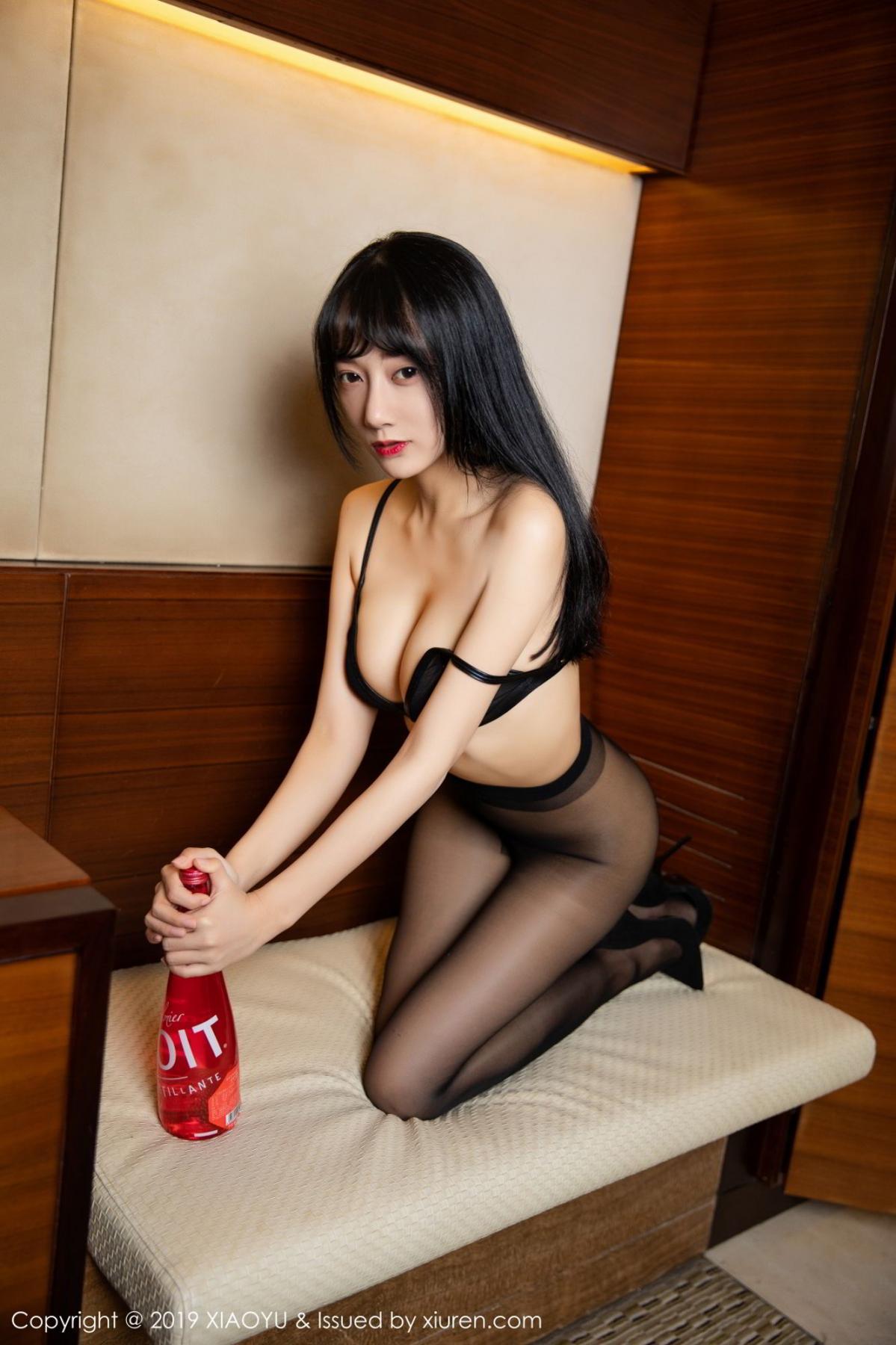 [XiaoYu] Vol.092 He Jia Ying 46P, Black Silk, He Jia Ying, Tall, Underwear, XiaoYu