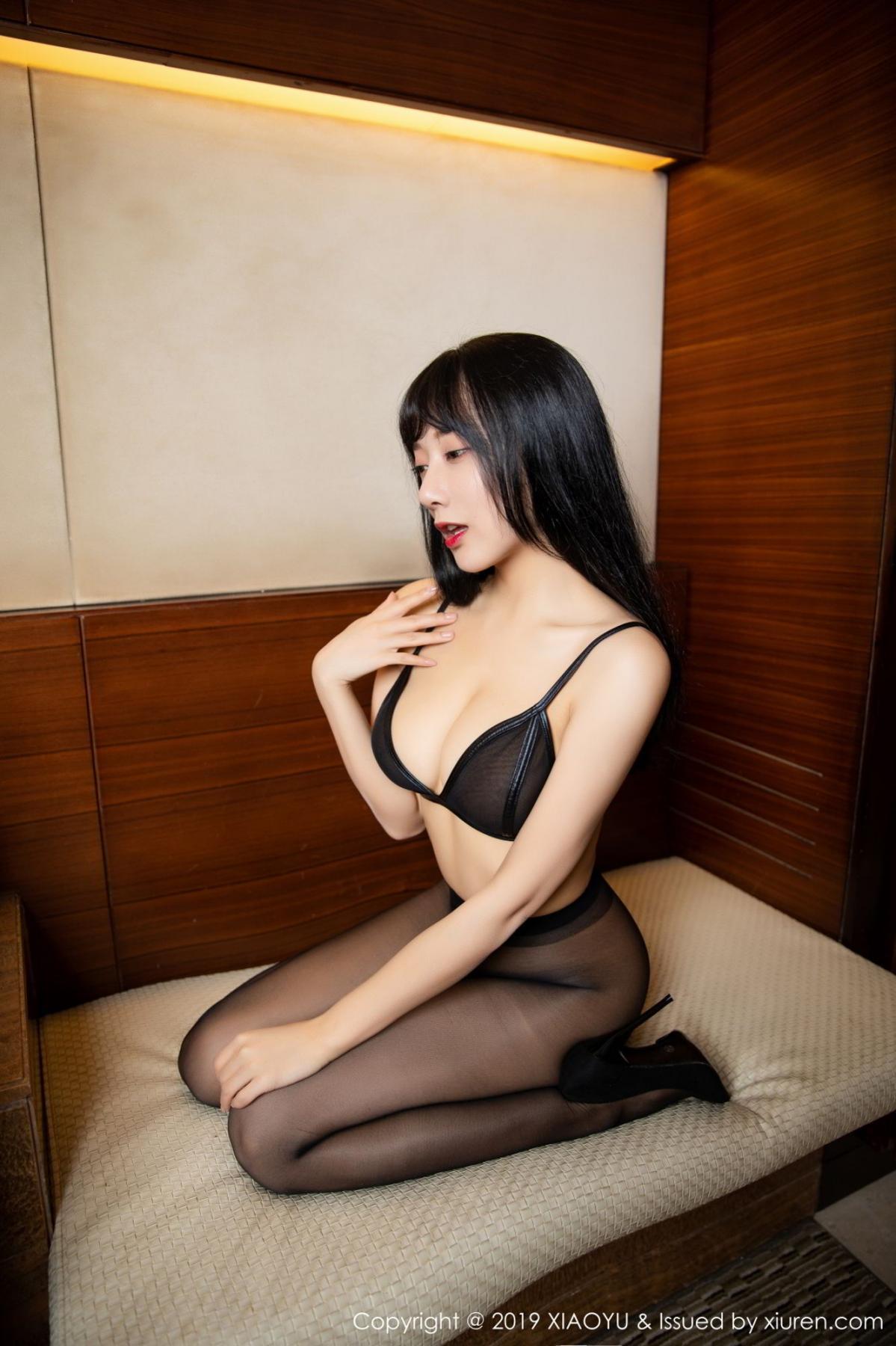 [XiaoYu] Vol.092 He Jia Ying 49P, Black Silk, He Jia Ying, Tall, Underwear, XiaoYu