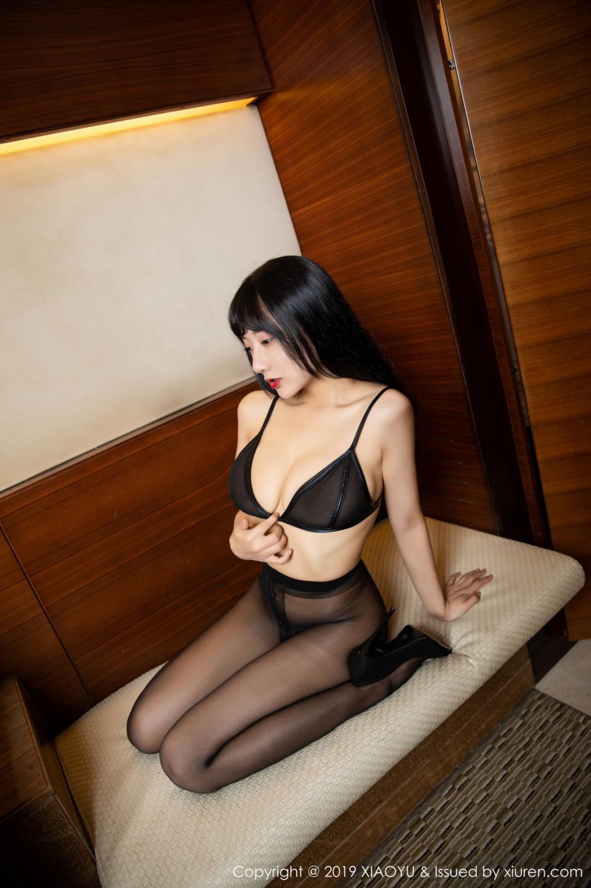 [XiaoYu] Vol.092 He Jia Ying 51P, Black Silk, He Jia Ying, Tall, Underwear, XiaoYu