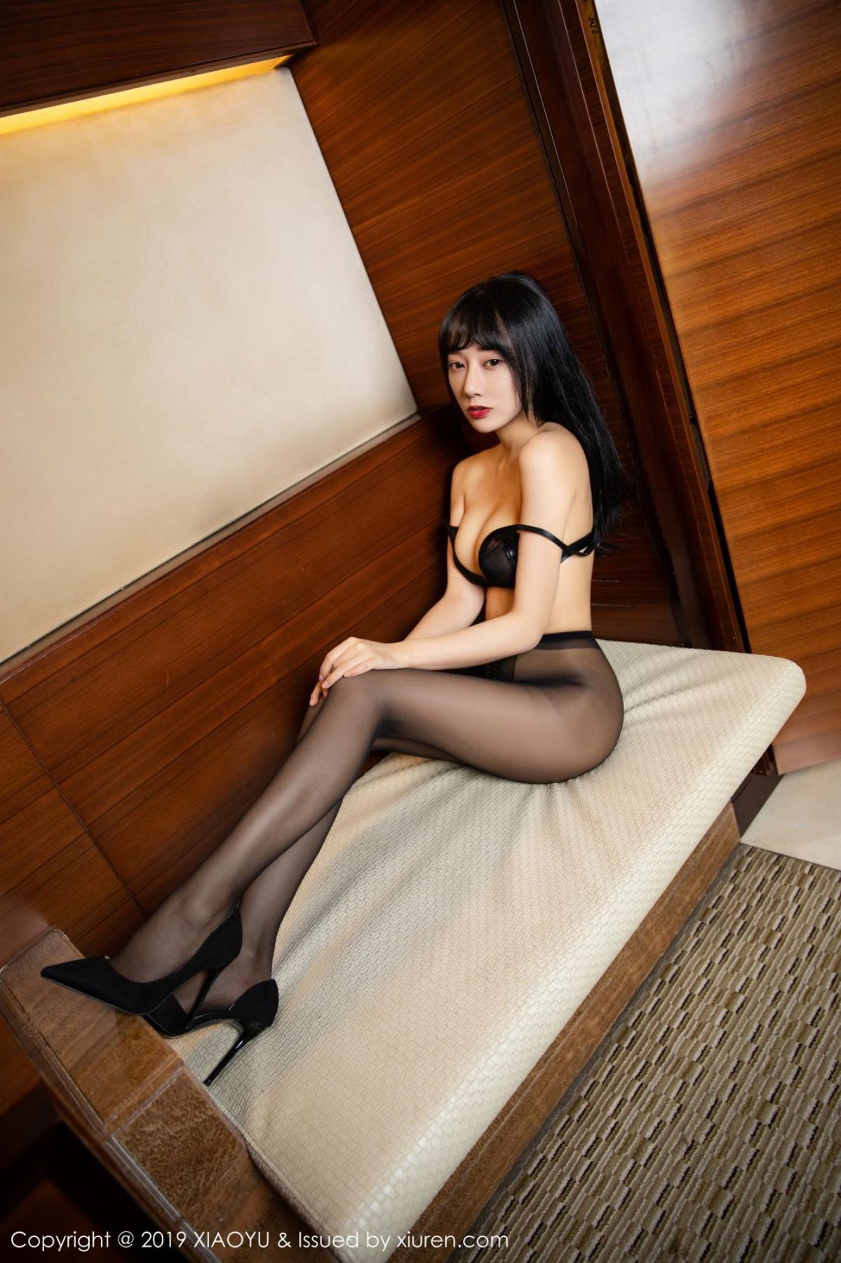 [XiaoYu] Vol.092 He Jia Ying 54P, Black Silk, He Jia Ying, Tall, Underwear, XiaoYu