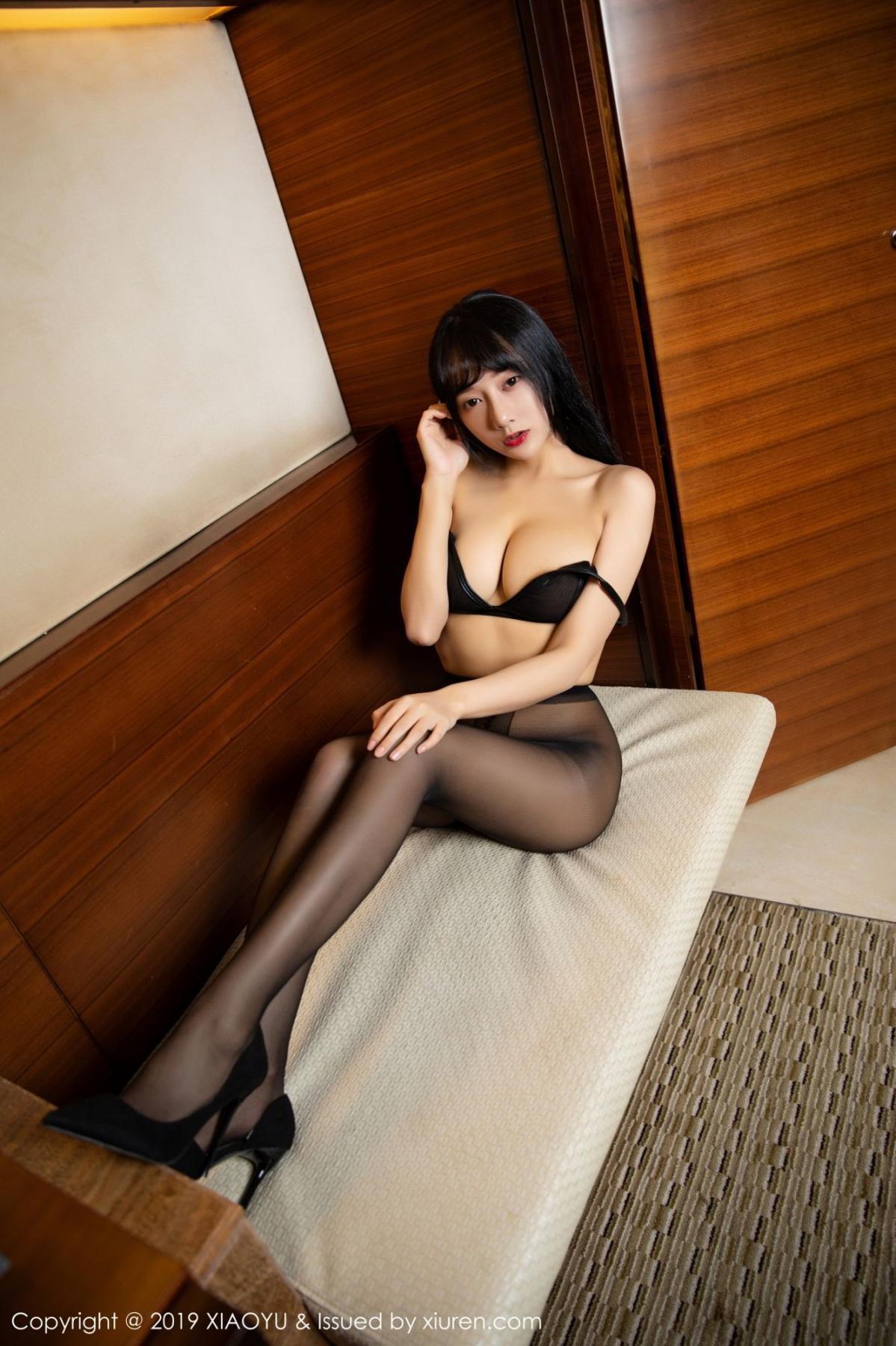 [XiaoYu] Vol.092 He Jia Ying 55P, Black Silk, He Jia Ying, Tall, Underwear, XiaoYu