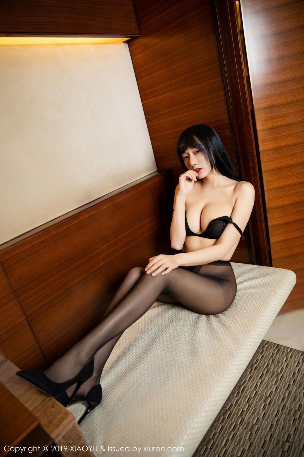 [XiaoYu] Vol.092 He Jia Ying 56P, Black Silk, He Jia Ying, Tall, Underwear, XiaoYu