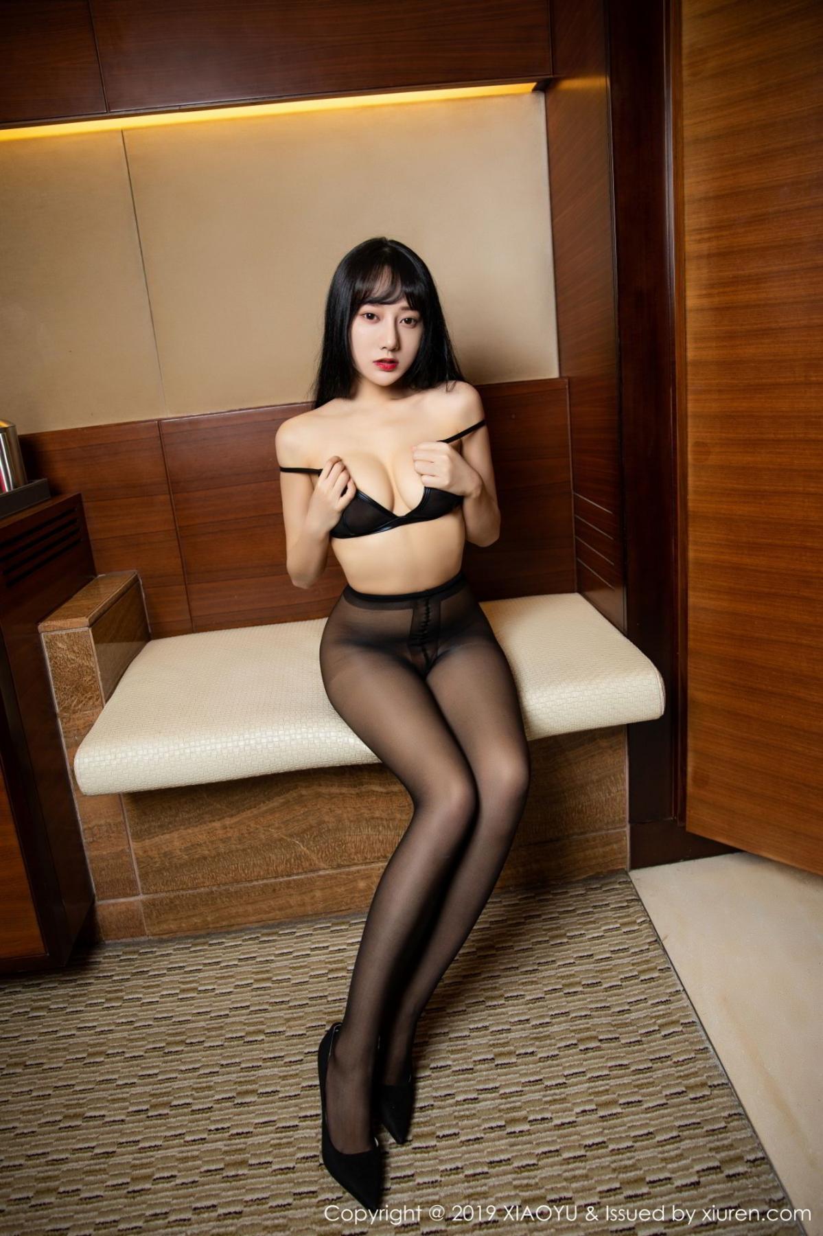 [XiaoYu] Vol.092 He Jia Ying 57P, Black Silk, He Jia Ying, Tall, Underwear, XiaoYu