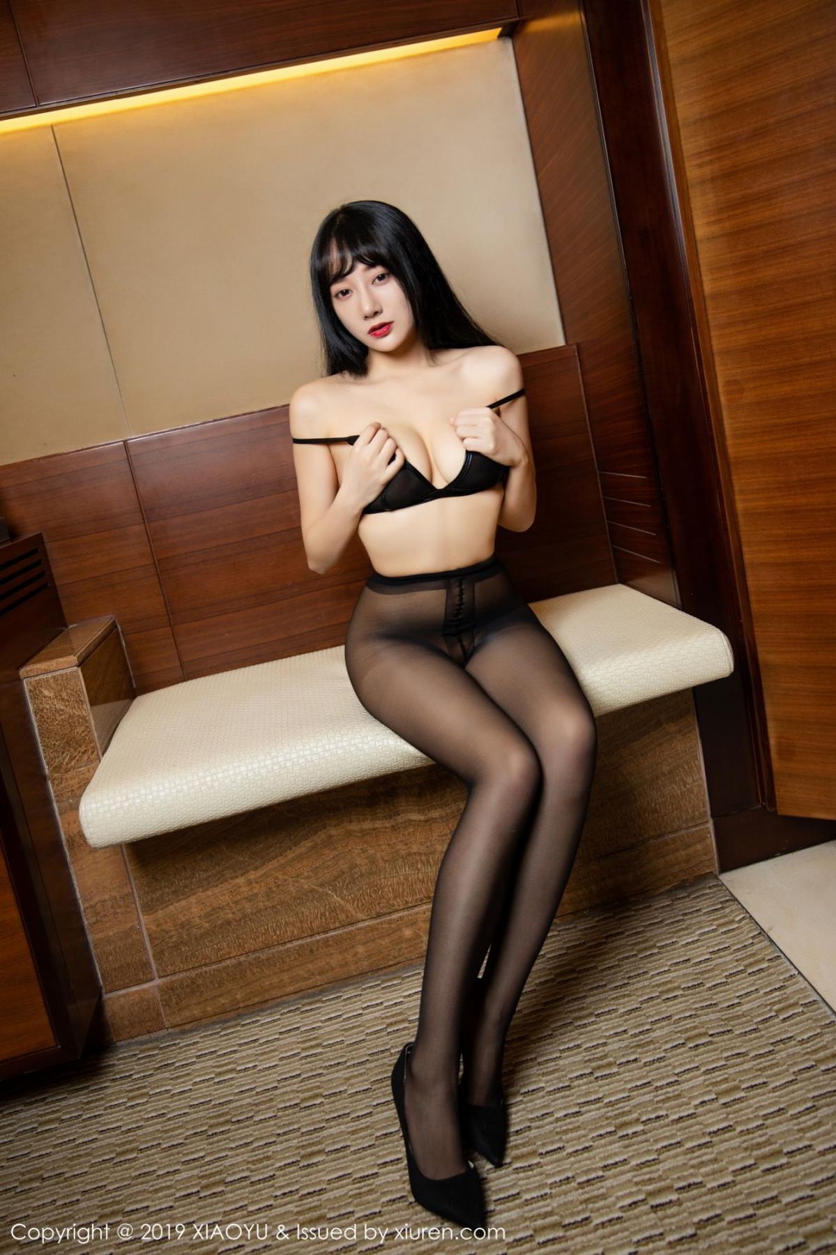 [XiaoYu] Vol.092 He Jia Ying 58P, Black Silk, He Jia Ying, Tall, Underwear, XiaoYu