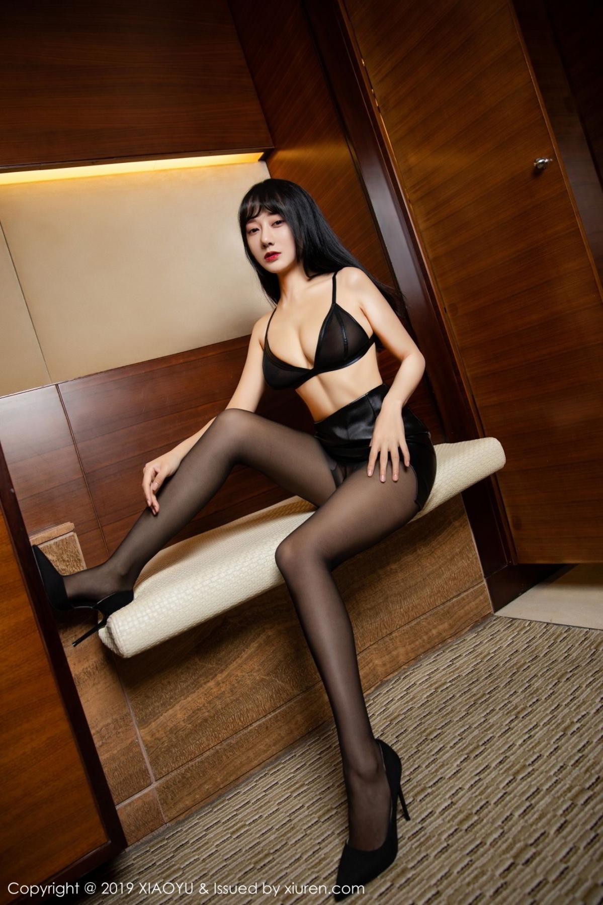 [XiaoYu] Vol.092 He Jia Ying 5P, Black Silk, He Jia Ying, Tall, Underwear, XiaoYu