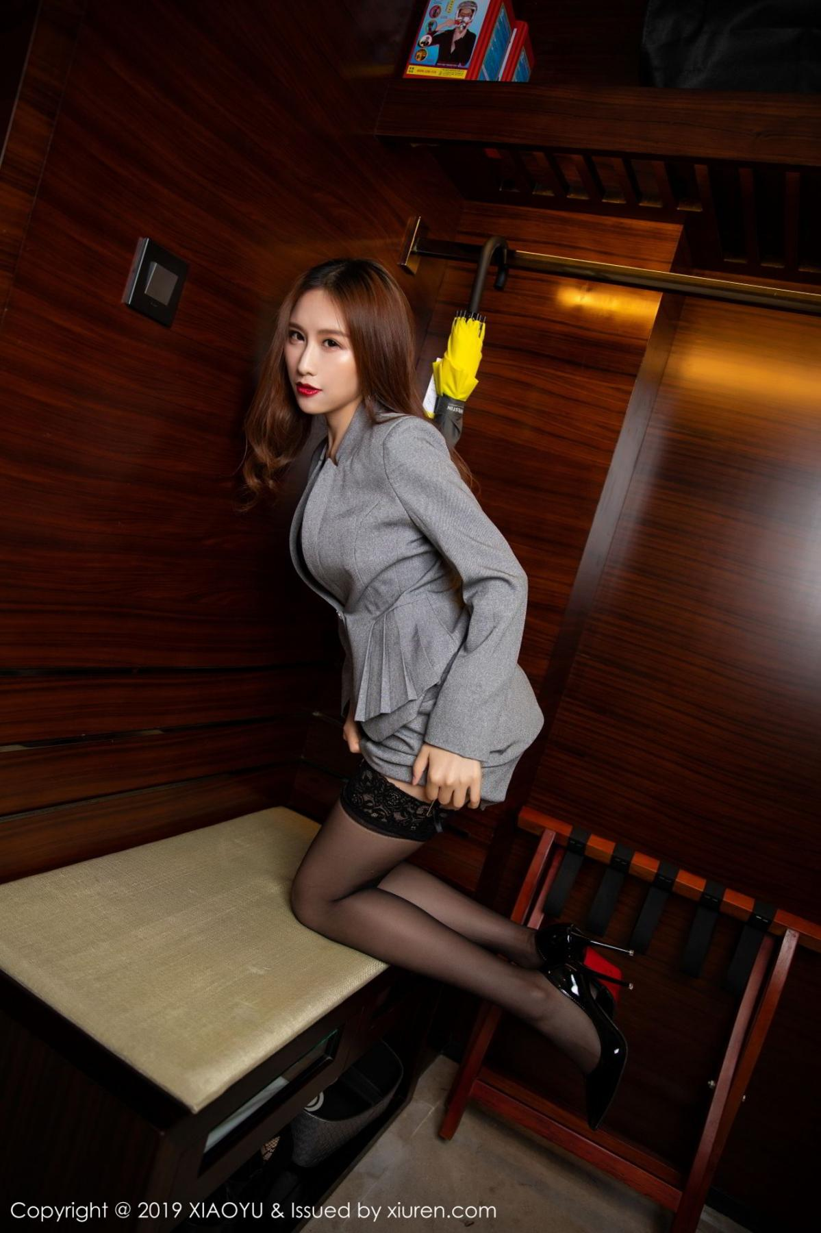 [XiaoYu] Vol.096 Yue Yin Tong 19P, Black Silk, Uniform, XiaoYu, Yue Yin Tong