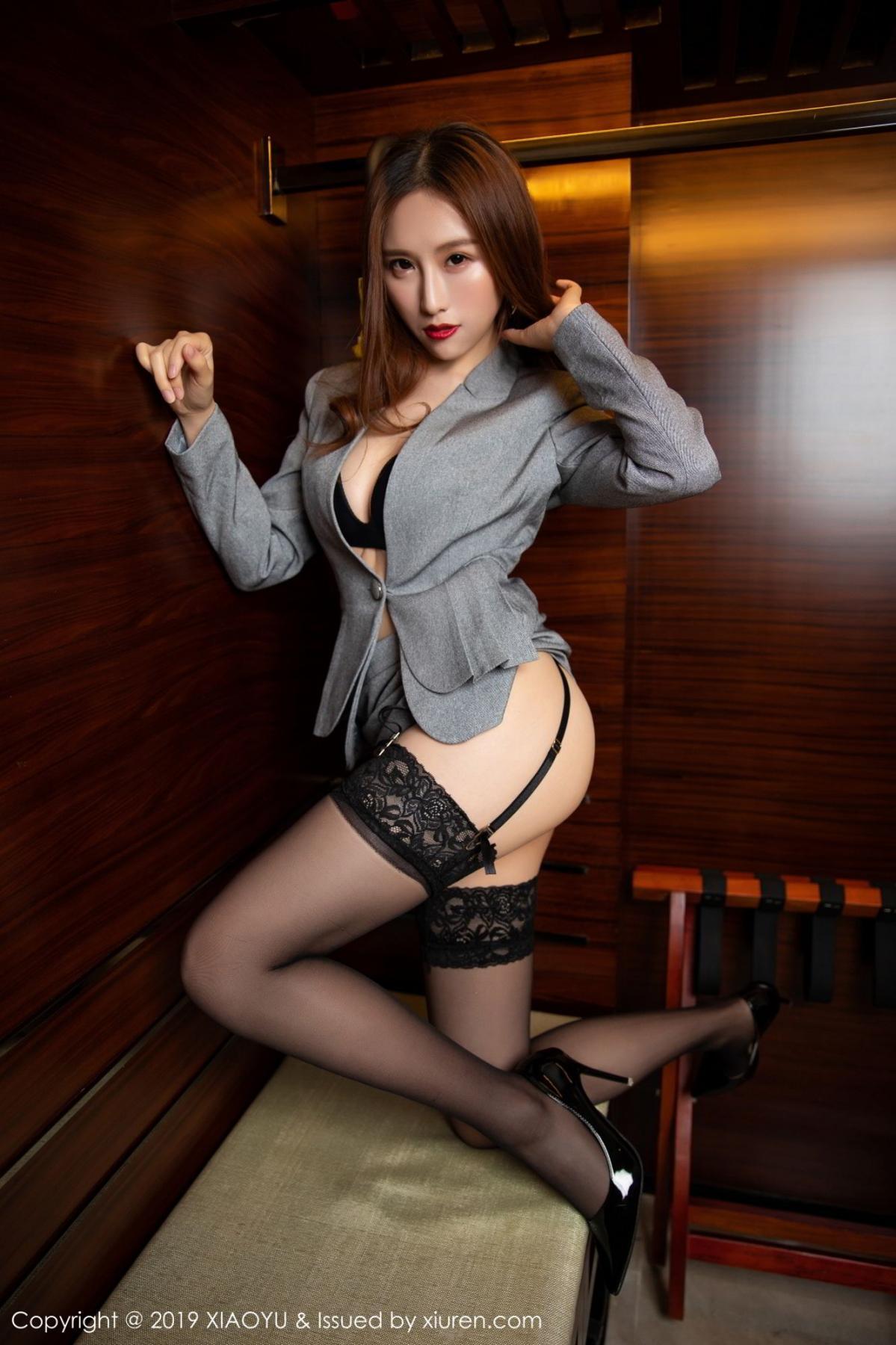 [XiaoYu] Vol.096 Yue Yin Tong 23P, Black Silk, Uniform, XiaoYu, Yue Yin Tong