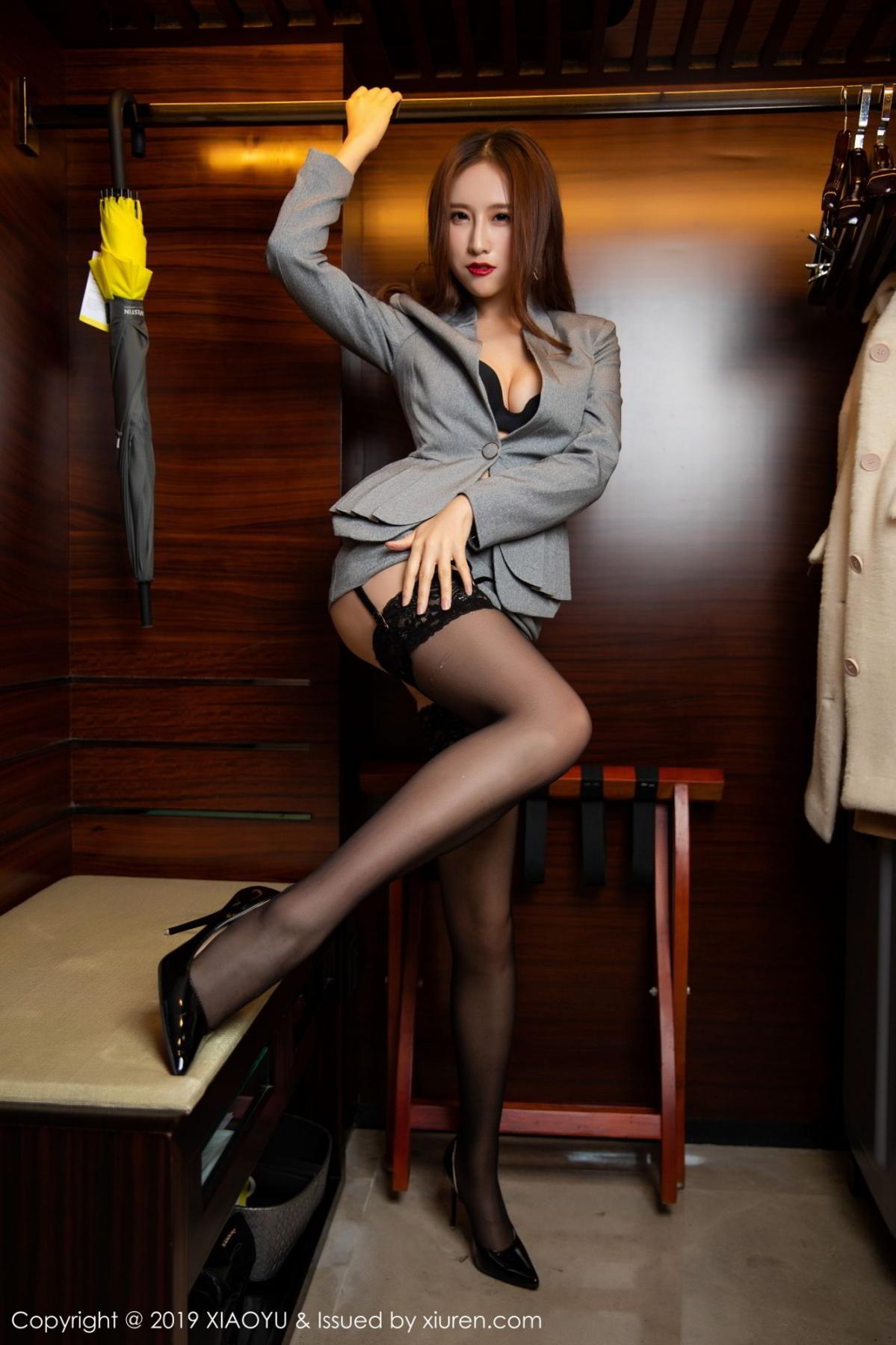 [XiaoYu] Vol.096 Yue Yin Tong 30P, Black Silk, Uniform, XiaoYu, Yue Yin Tong