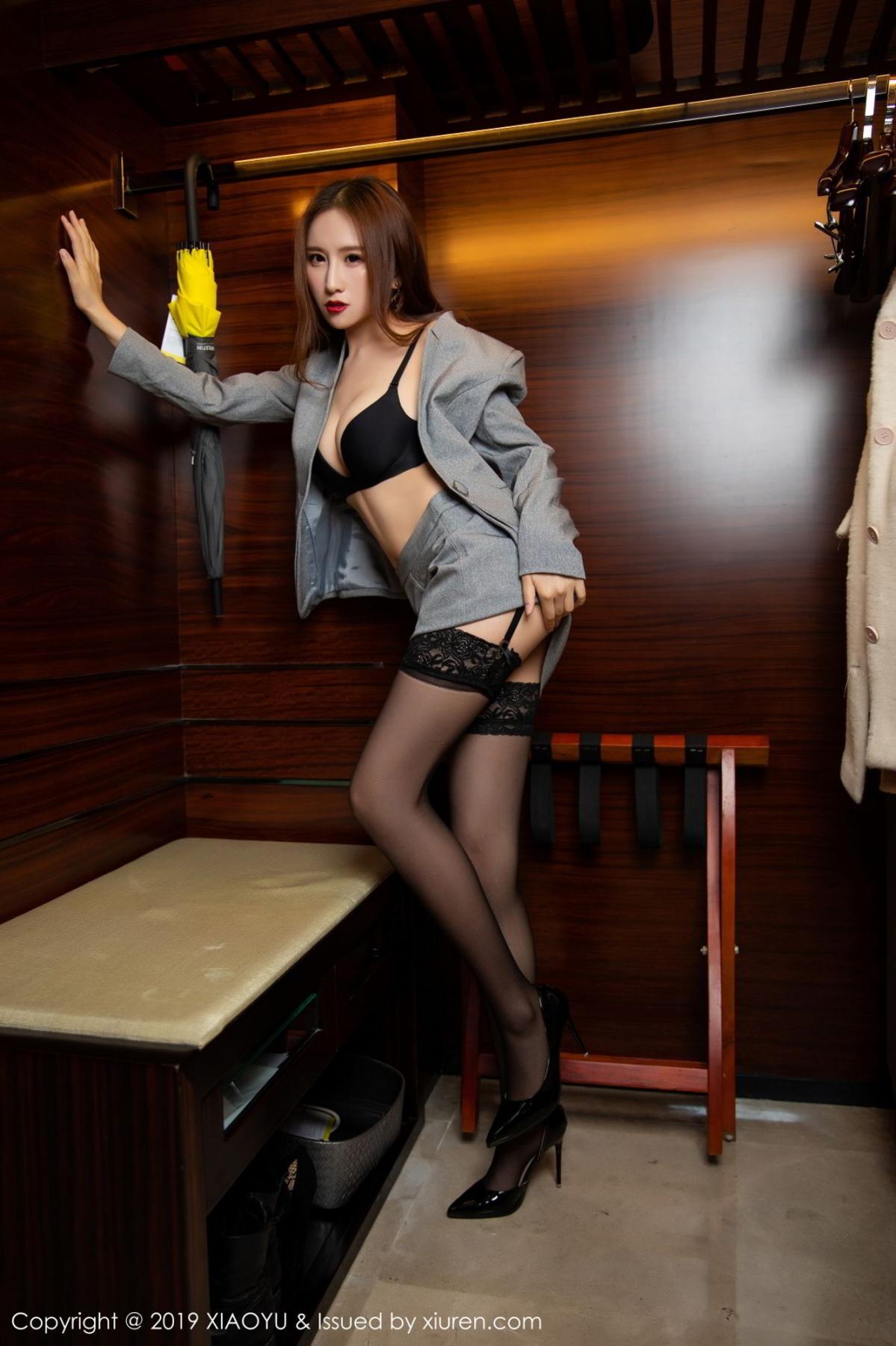 [XiaoYu] Vol.096 Yue Yin Tong 43P, Black Silk, Uniform, XiaoYu, Yue Yin Tong