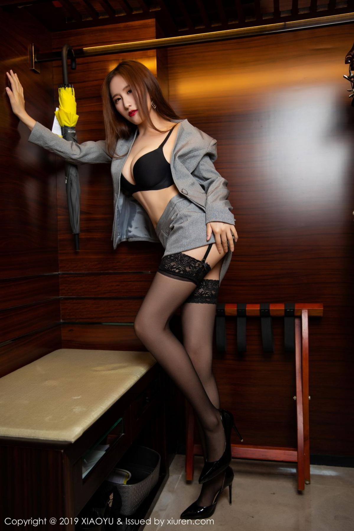 [XiaoYu] Vol.096 Yue Yin Tong 44P, Black Silk, Uniform, XiaoYu, Yue Yin Tong