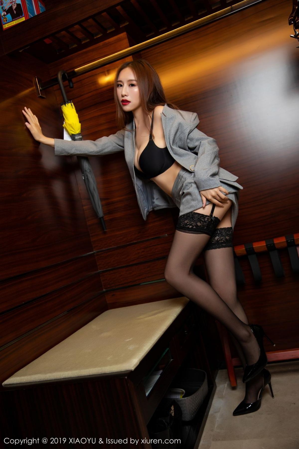 [XiaoYu] Vol.096 Yue Yin Tong 46P, Black Silk, Uniform, XiaoYu, Yue Yin Tong