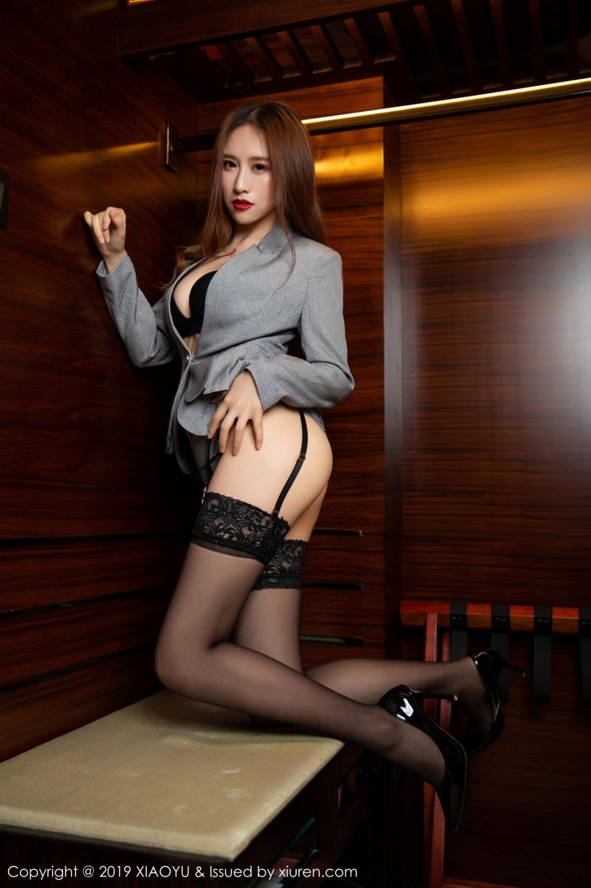 [XiaoYu] Vol.096 Yue Yin Tong 5P, Black Silk, Uniform, XiaoYu, Yue Yin Tong