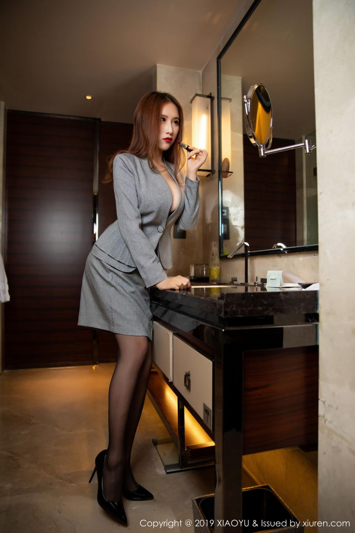 [XiaoYu] Vol.096 Yue Yin Tong 8P, Black Silk, Uniform, XiaoYu, Yue Yin Tong