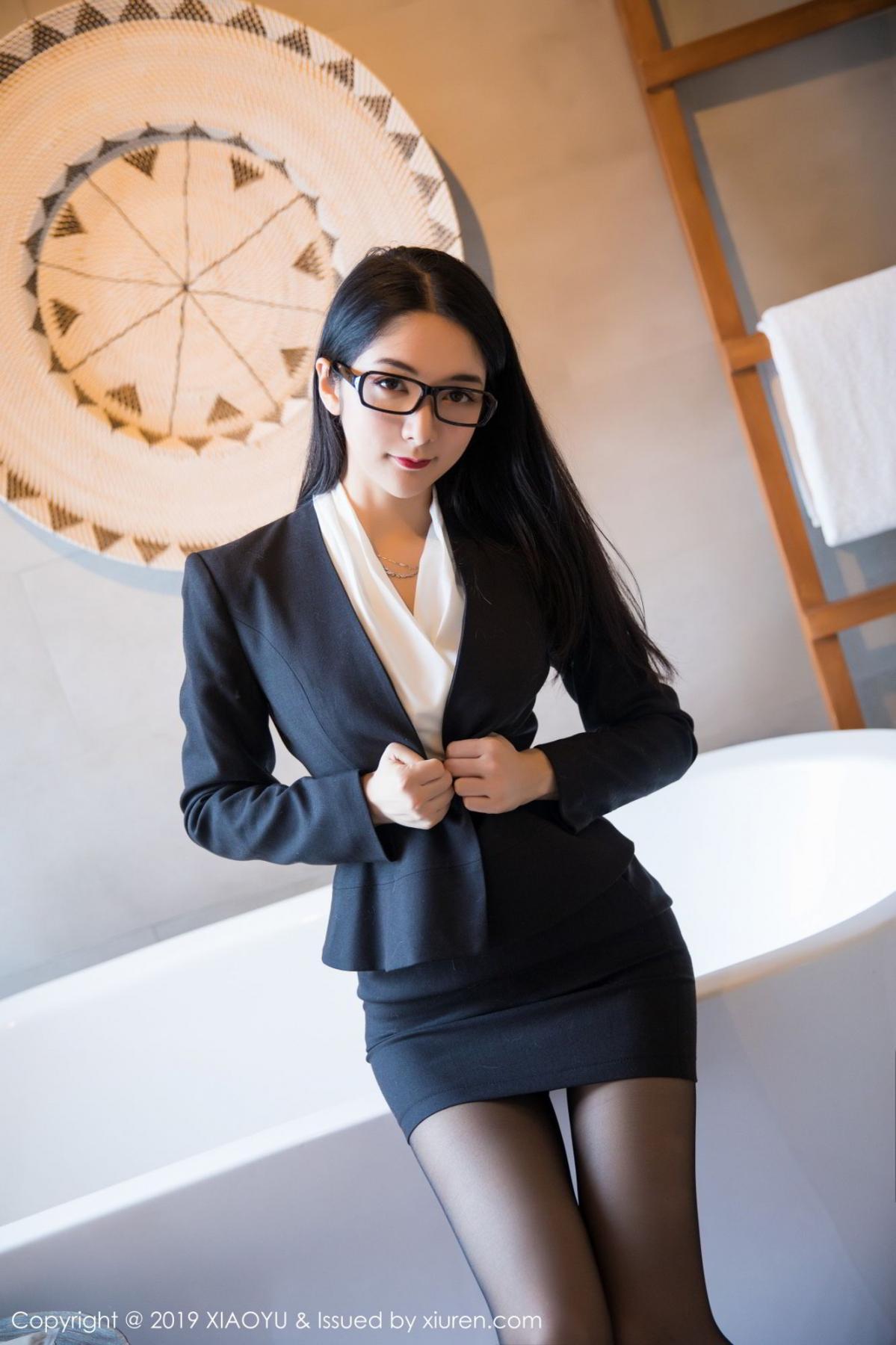 [XiaoYu] Vol.098 Di Yi 15P, Black Silk, Di Yi, Uniform, XiaoYu