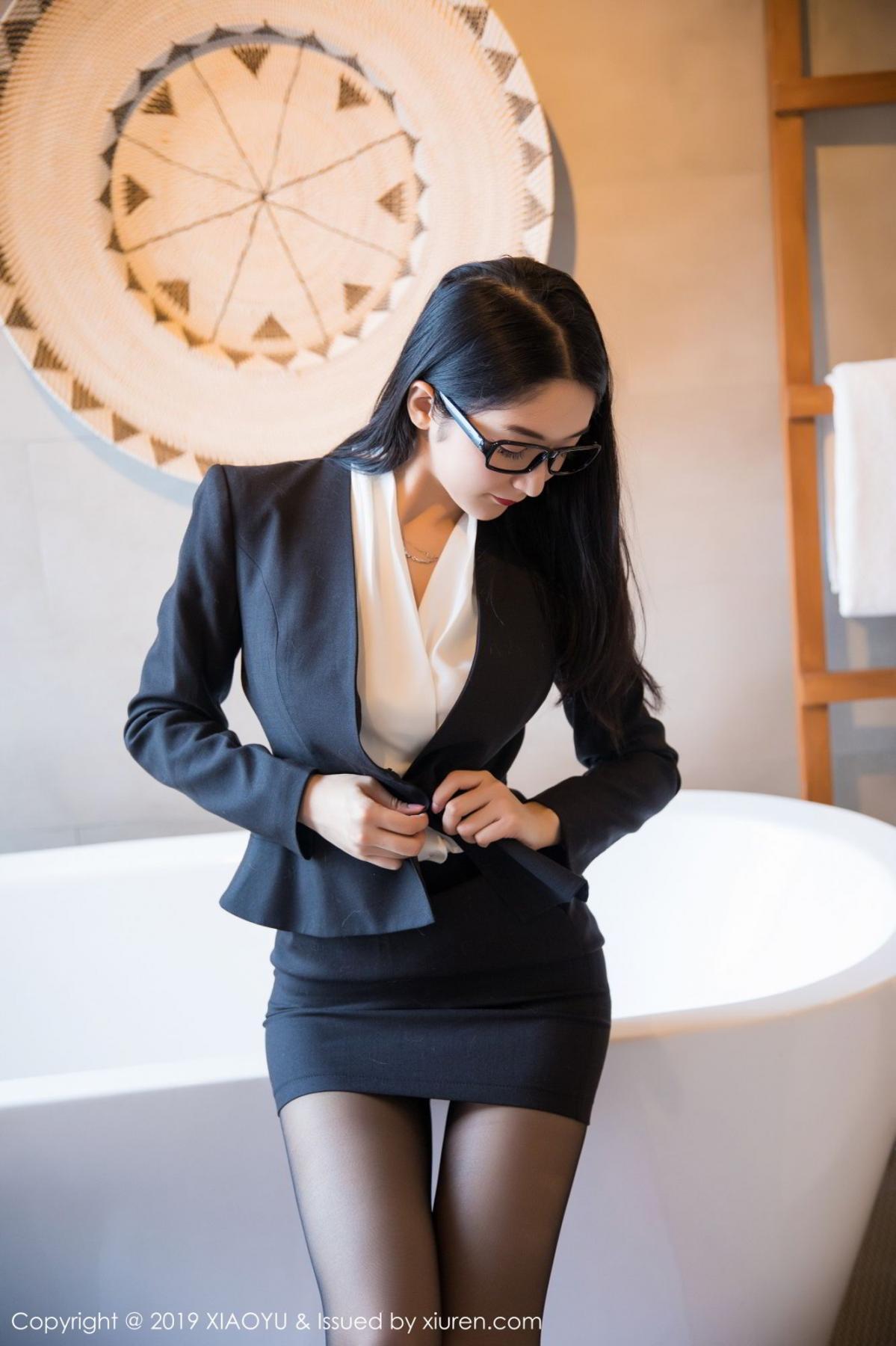 [XiaoYu] Vol.098 Di Yi 5P, Black Silk, Di Yi, Uniform, XiaoYu