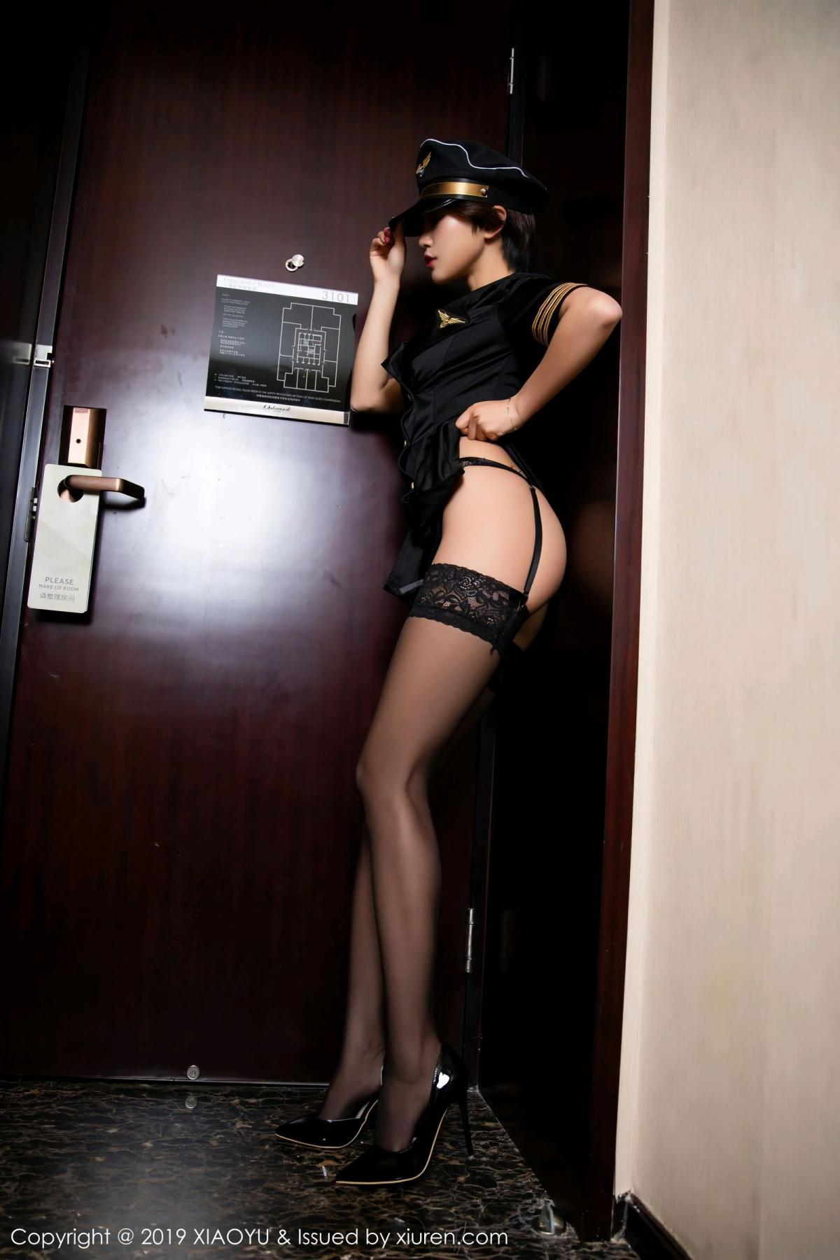 [XiaoYu] Vol.100 Feng Mu Mu 16P, Black Silk, Cool, Feng Mu Mu, Stewardess, Uniform, XiaoYu
